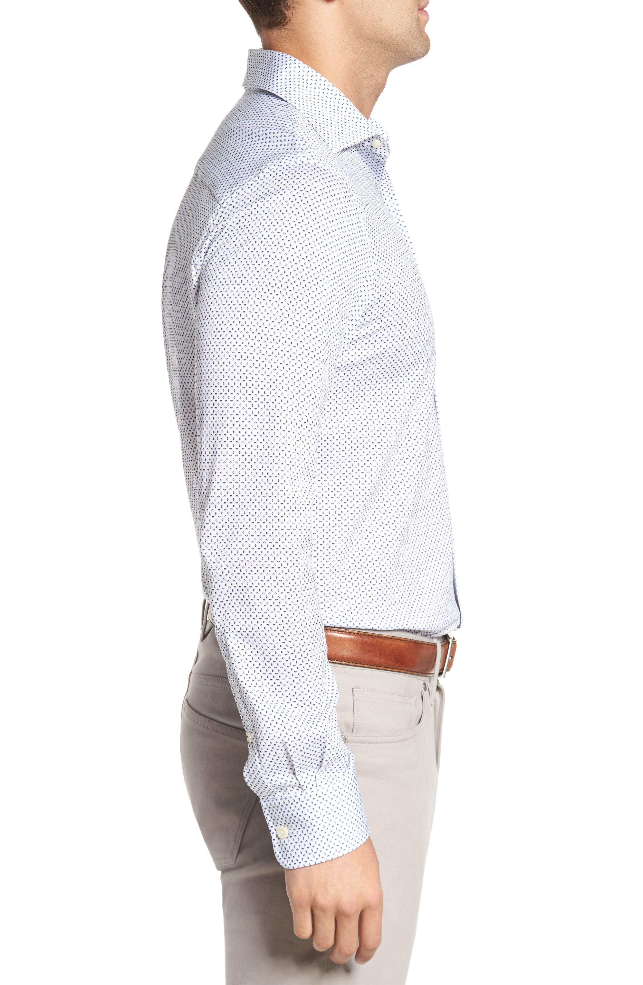Ocean Mist Classic Fit Print Sport Shirt,                             Alternate thumbnail 3, color,                             100
