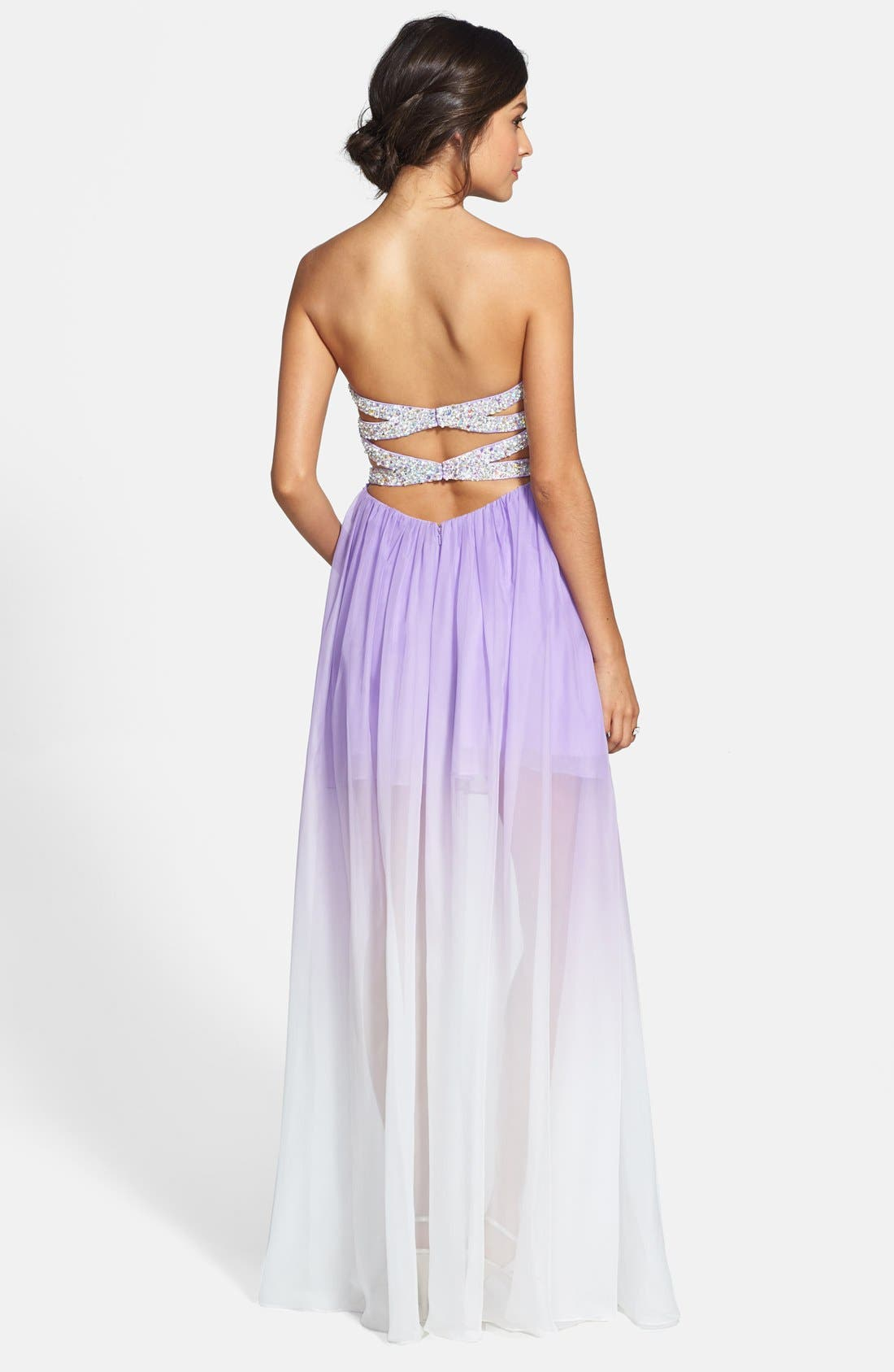 Ombré Chiffon Gown,                             Alternate thumbnail 2, color,                             530