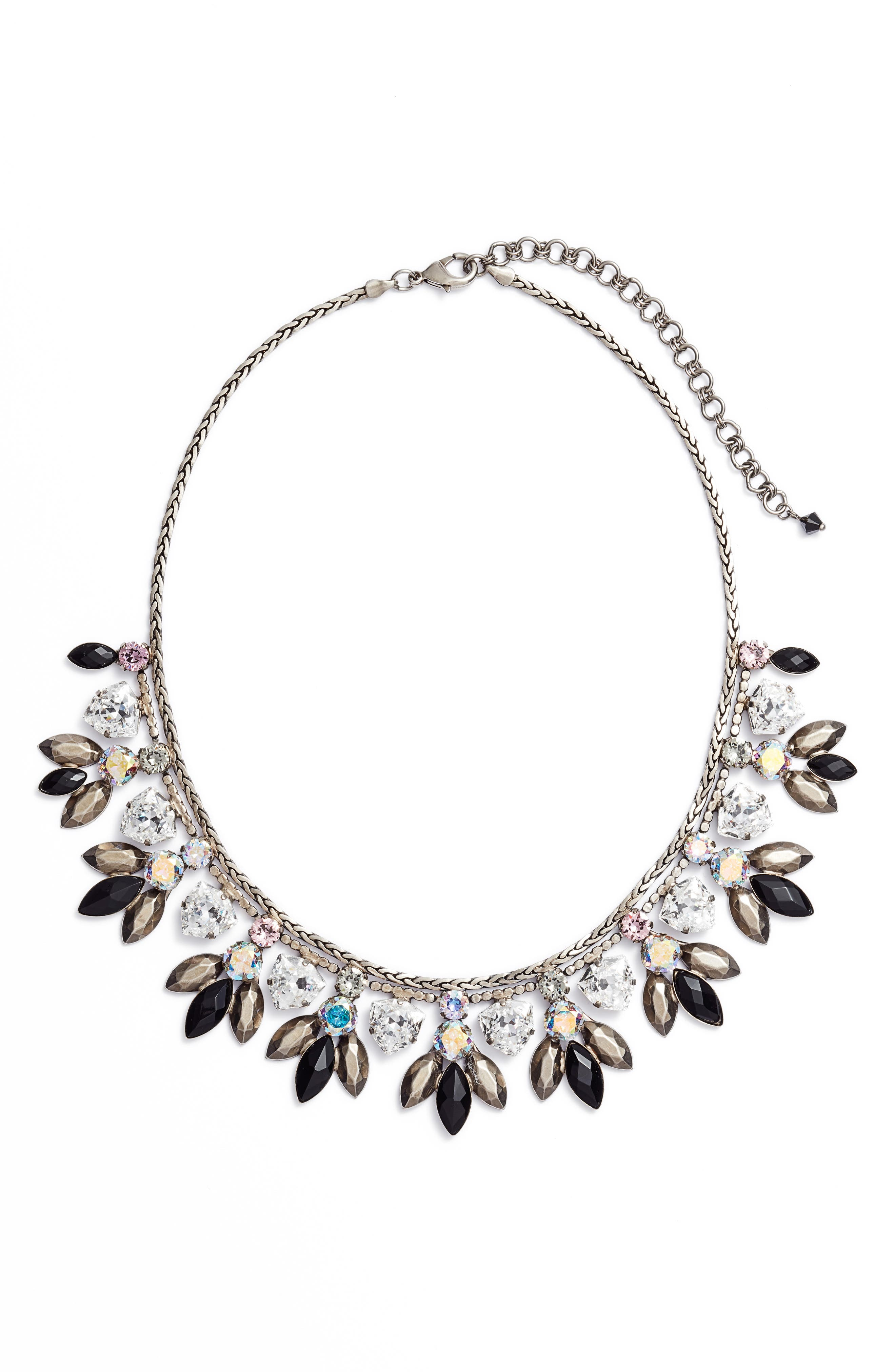 SORRELLI Metal & Crystal Bib Statement Necklace in Black