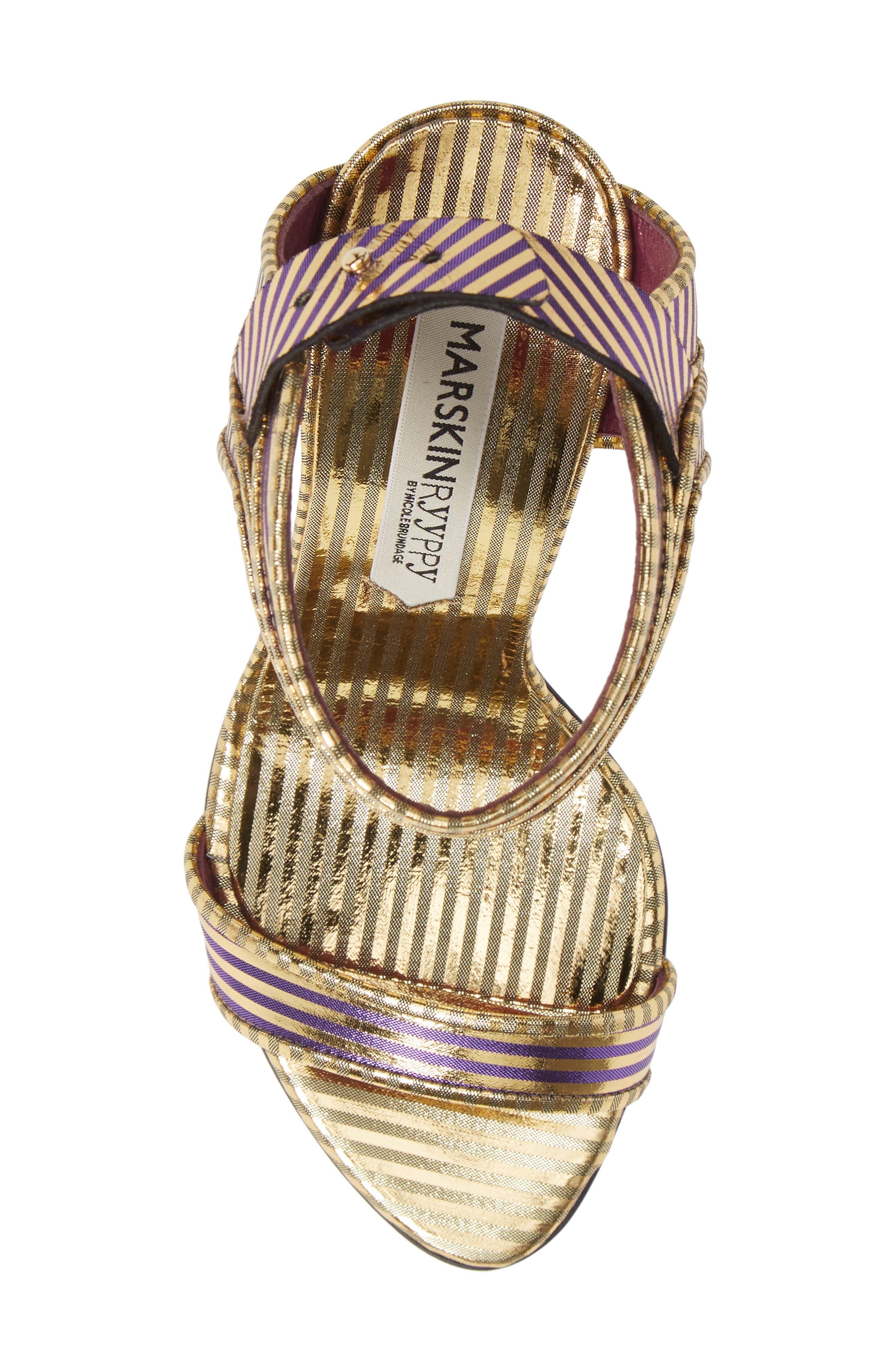 Wynona Stripe Sandal,                             Alternate thumbnail 5, color,                             GOLD PURPLE STRIPED