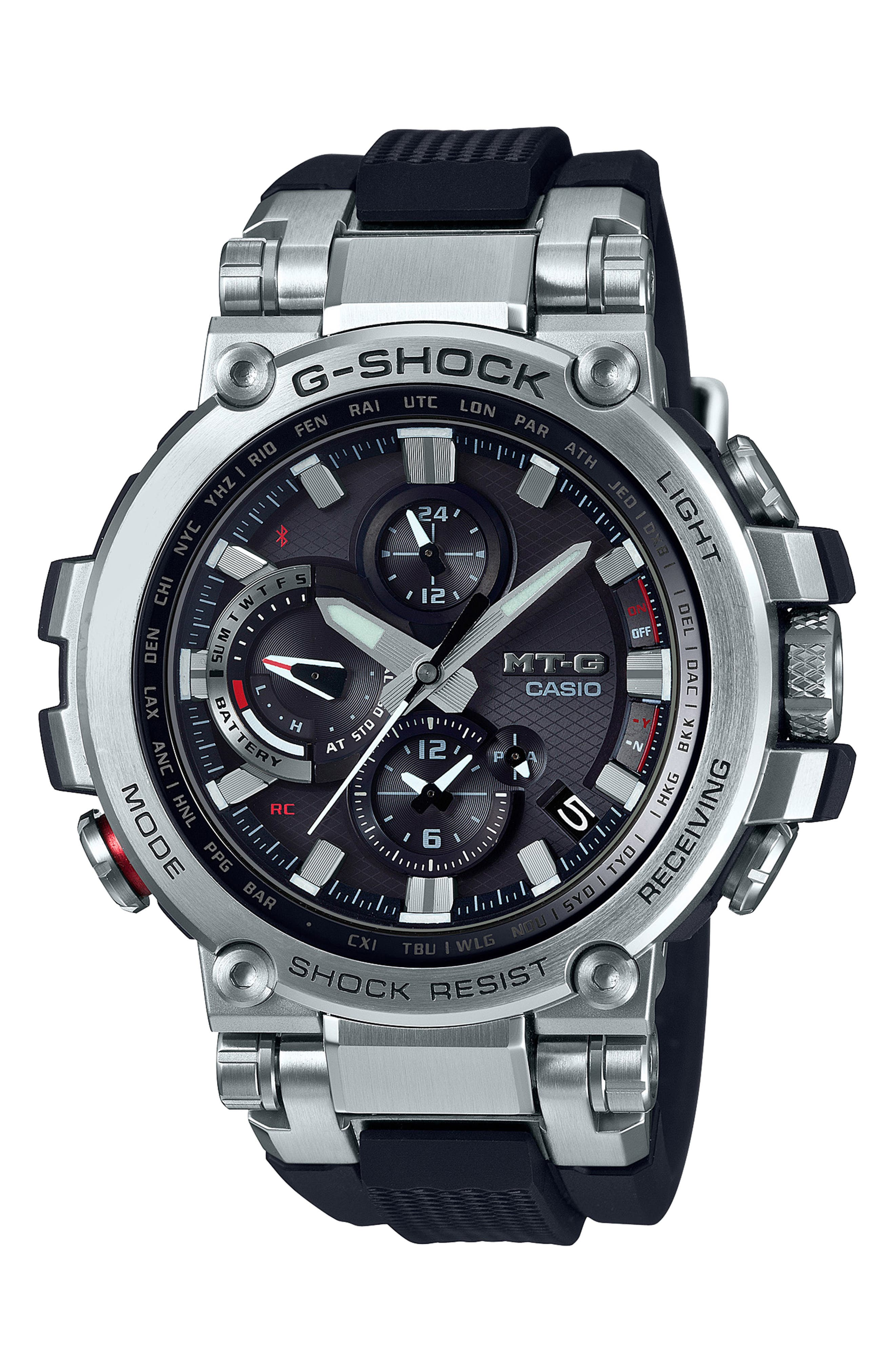 G-SHOCK BABY-G,                             Analog Casio MT-G Watch, 52mm,                             Main thumbnail 1, color,                             BLACK/ SILVER