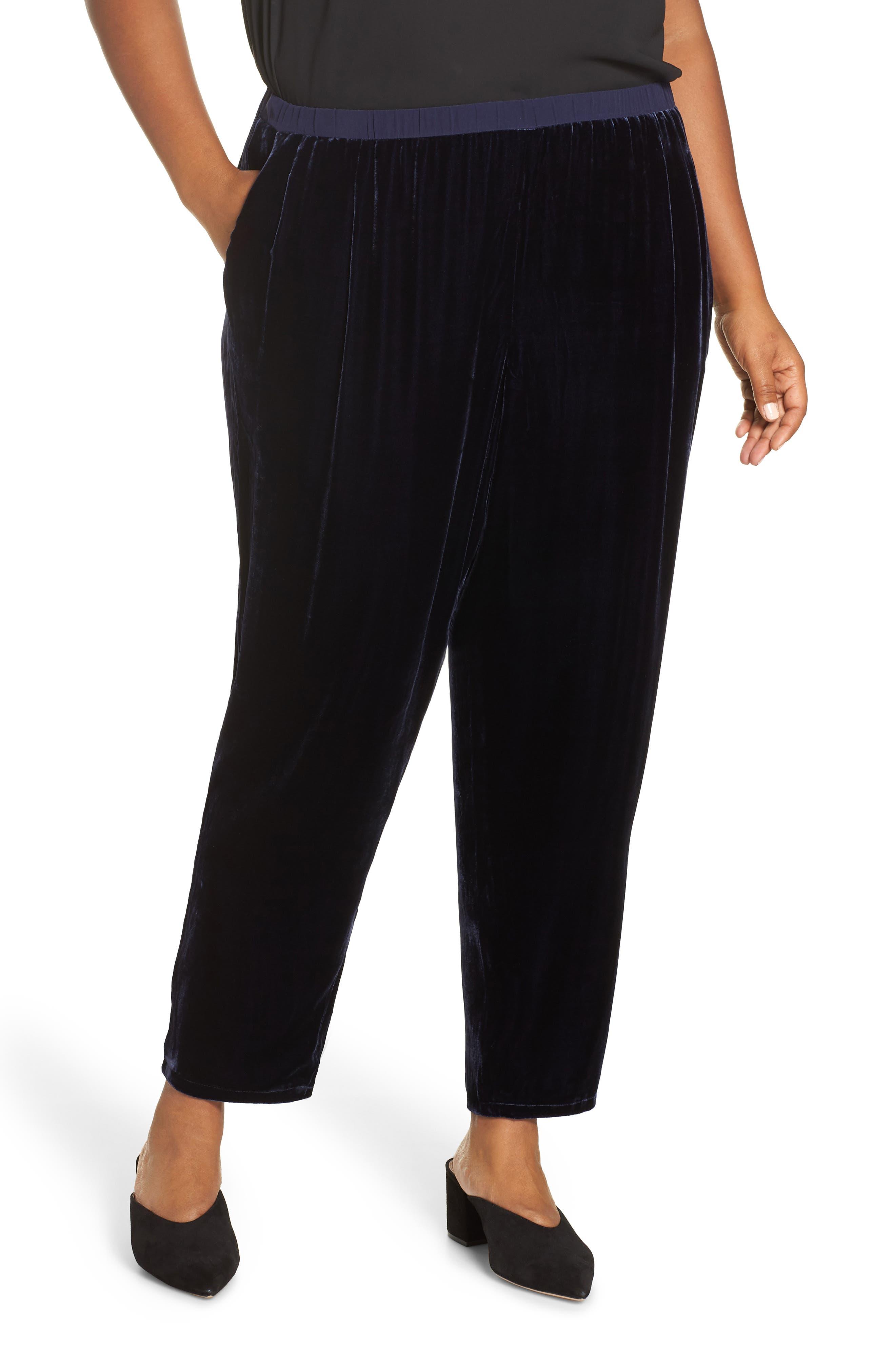 High Rise Velvet Ankle Pants,                         Main,                         color, 419