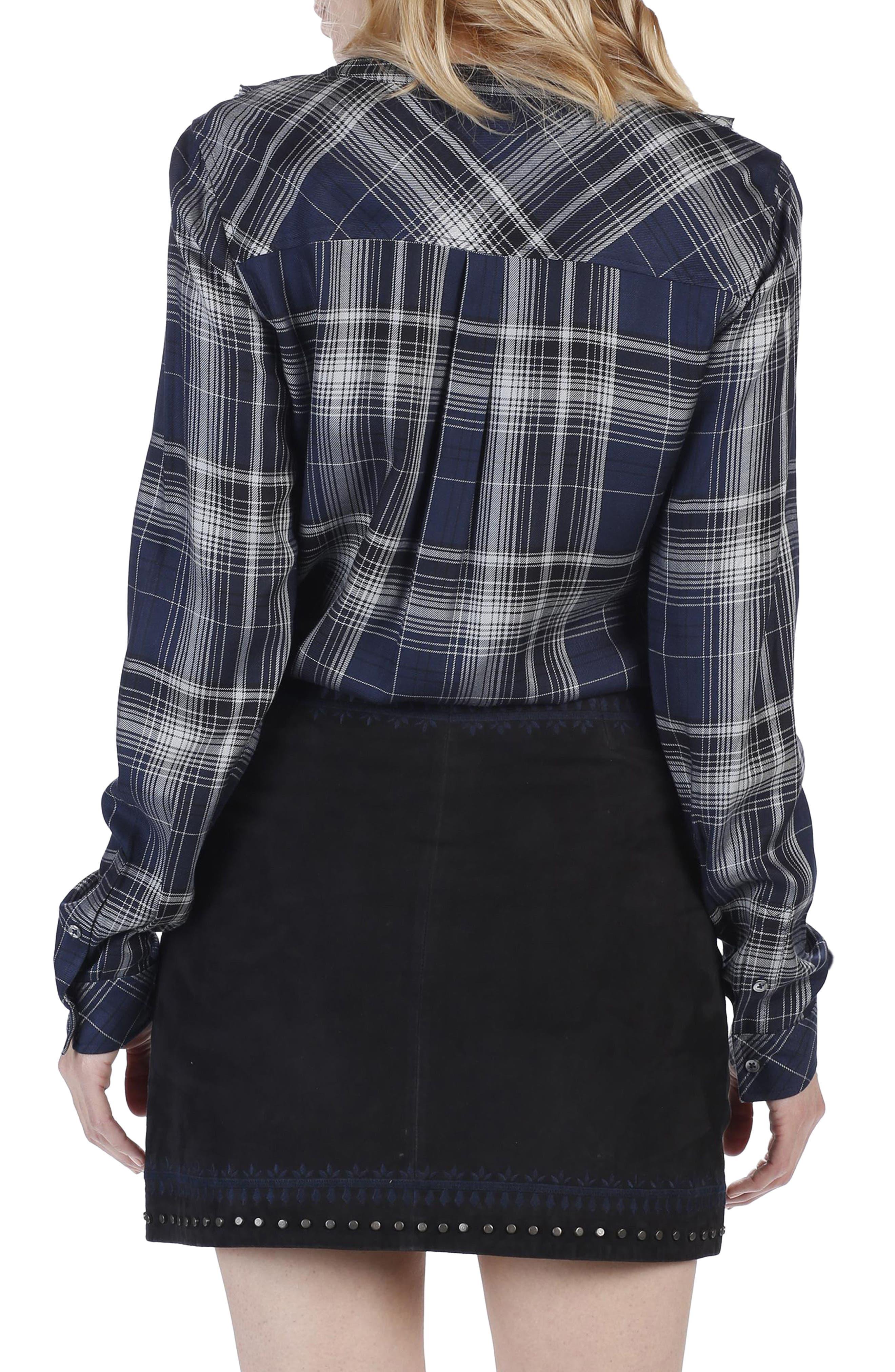 Bernette Ruffle Plaid Shirt,                             Alternate thumbnail 3, color,                             400