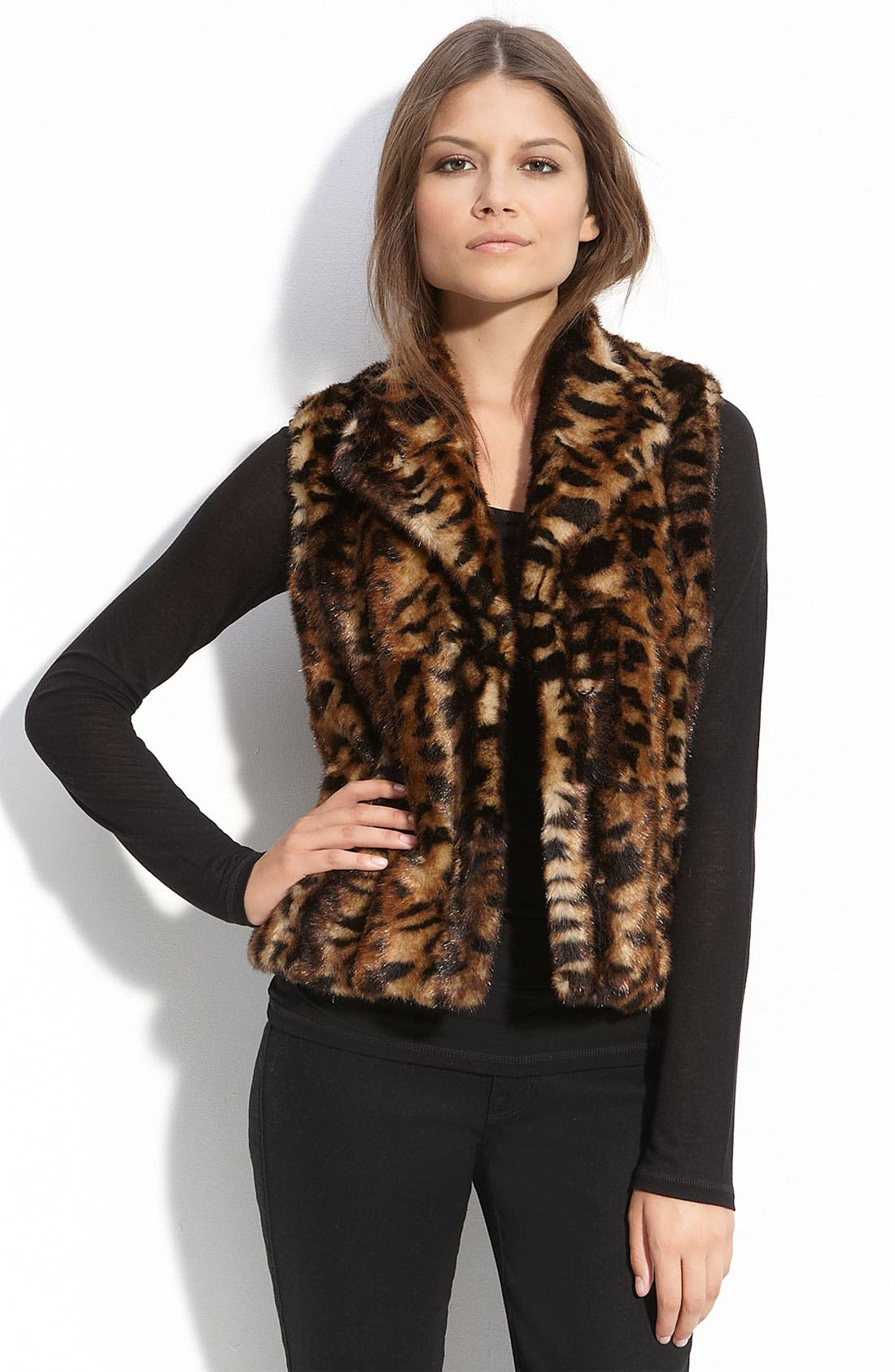 CALVIN KLEIN,                             Faux Fur Vest,                             Main thumbnail 1, color,                             200