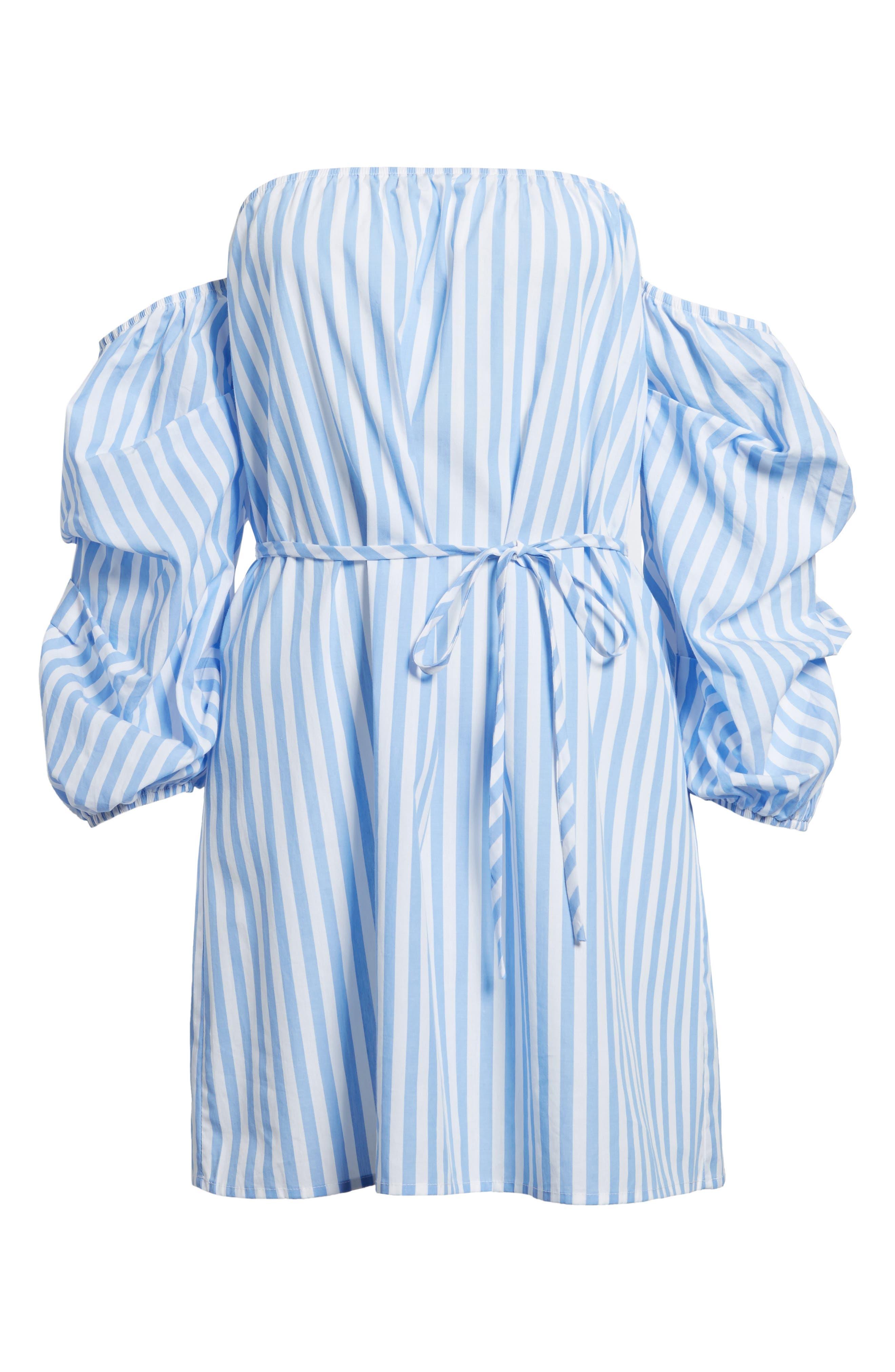 Off the Shoulder Stripe Minidress,                             Alternate thumbnail 6, color,                             100