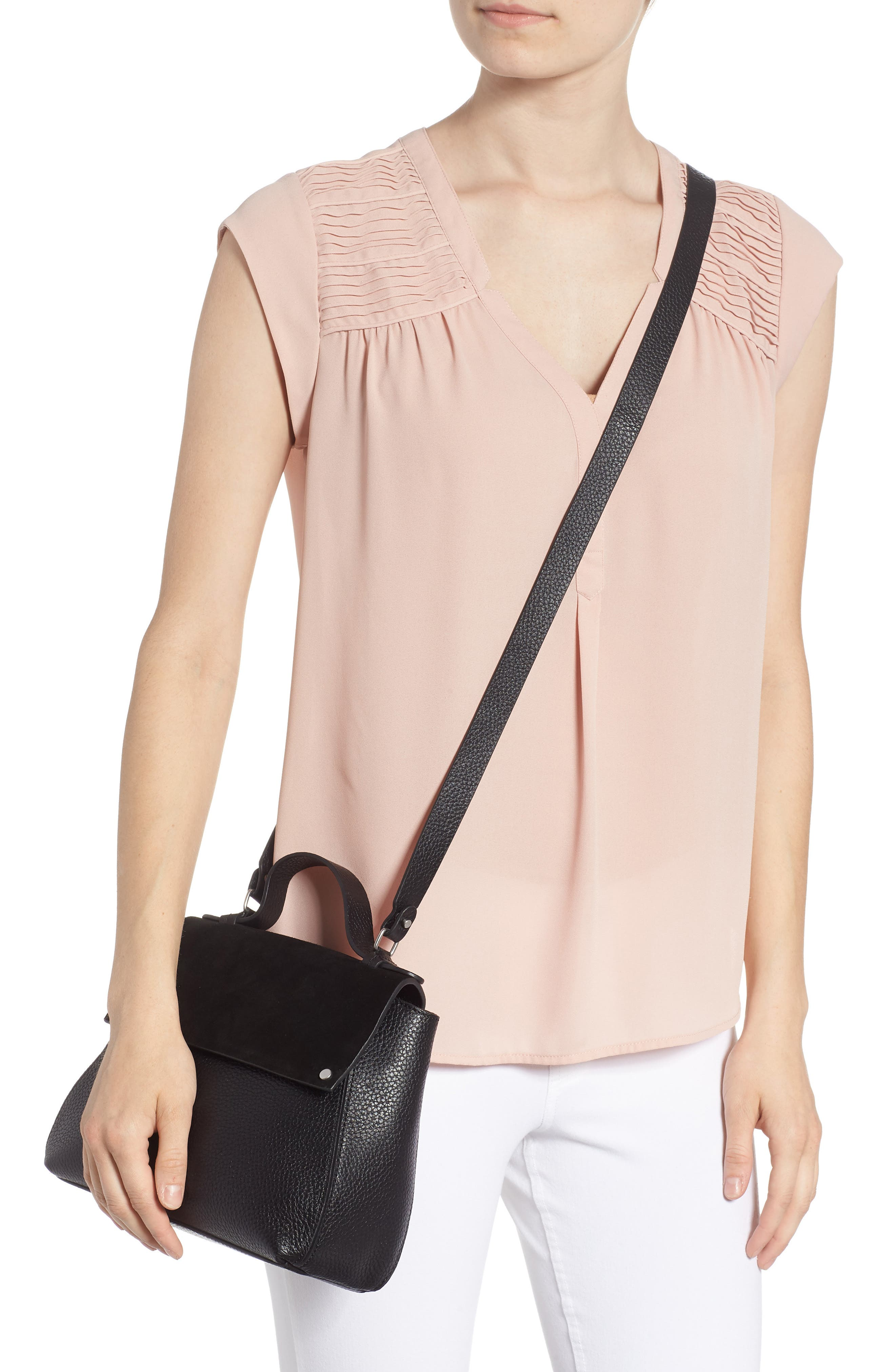 Skyler Leather Top Handle Bag,                             Alternate thumbnail 2, color,                             BLACK
