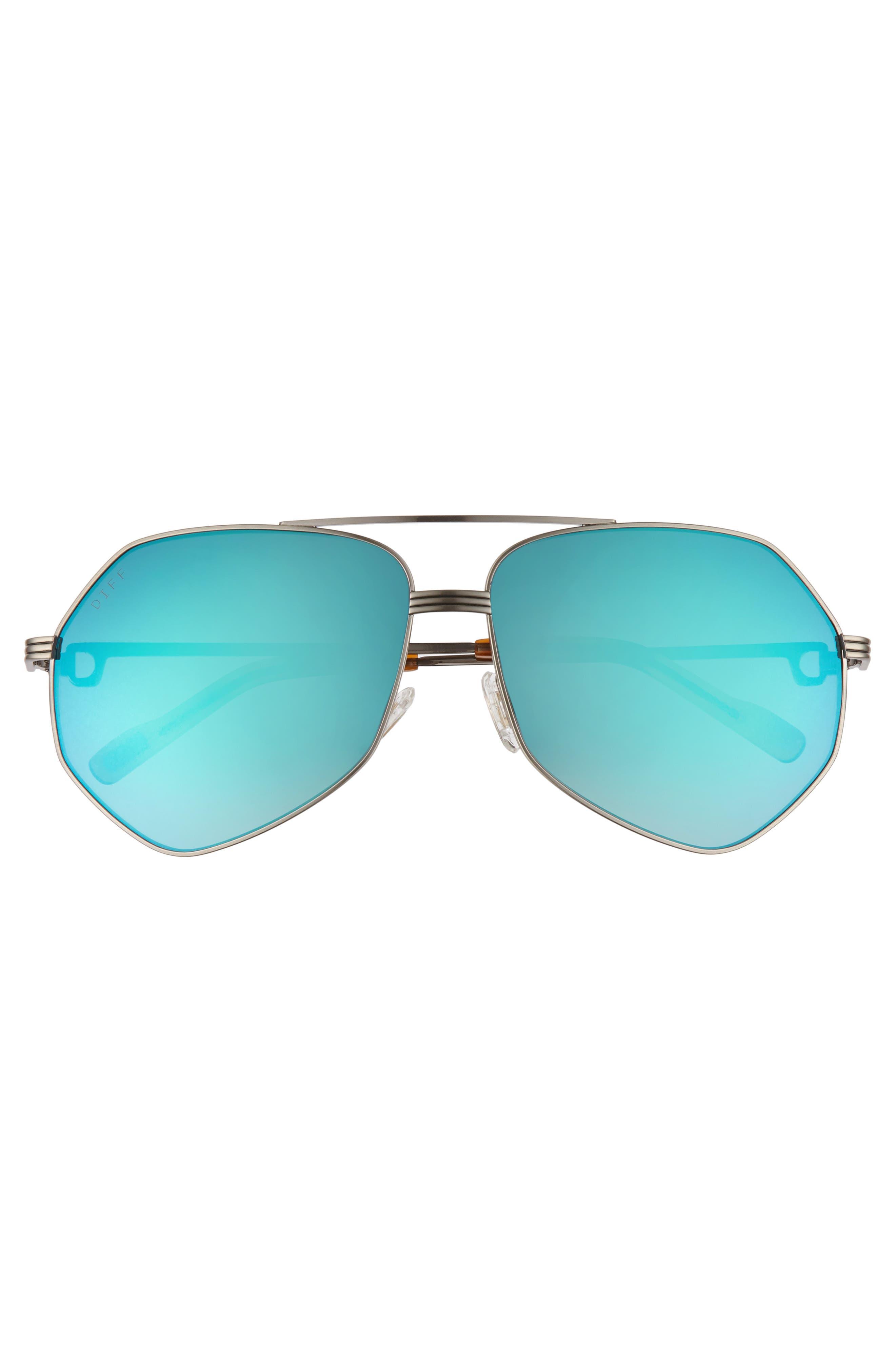 Sidney Geo Aviator Sunglasses,                             Alternate thumbnail 3, color,                             LIGHT GUNMETAL/ HONEY/ BLUE