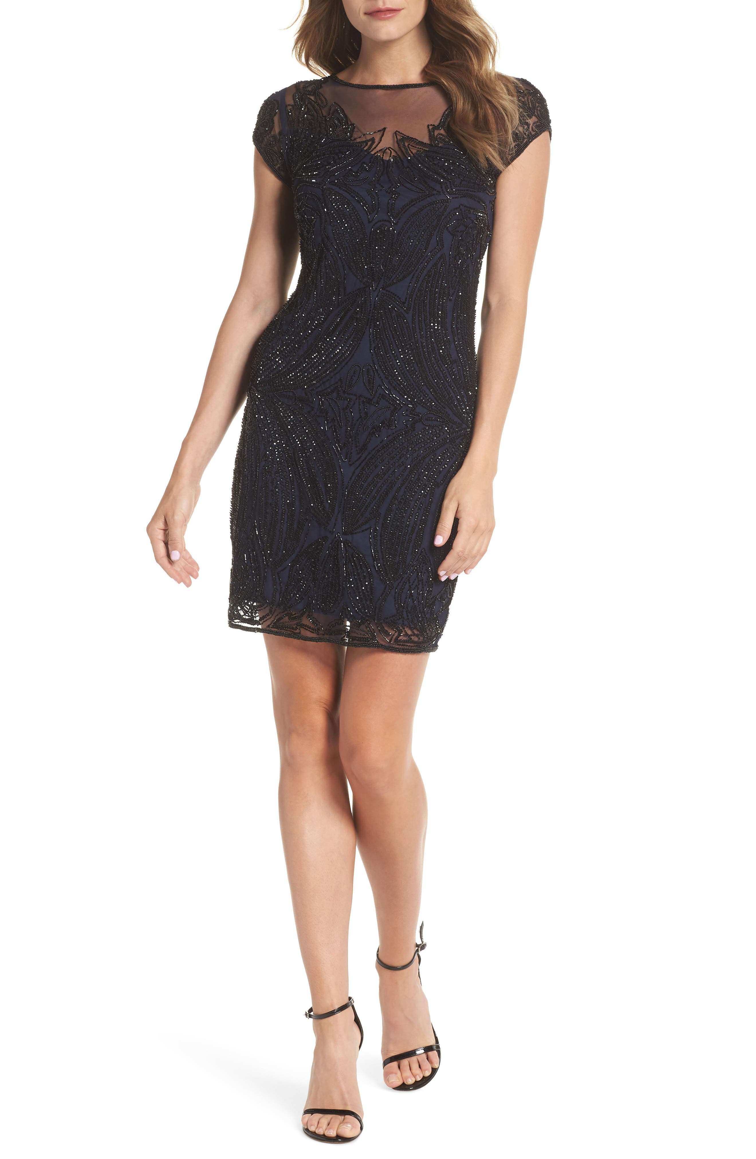 Beaded Illusion Yoke Sheath Dress,                         Main,                         color, NAVY BLACK
