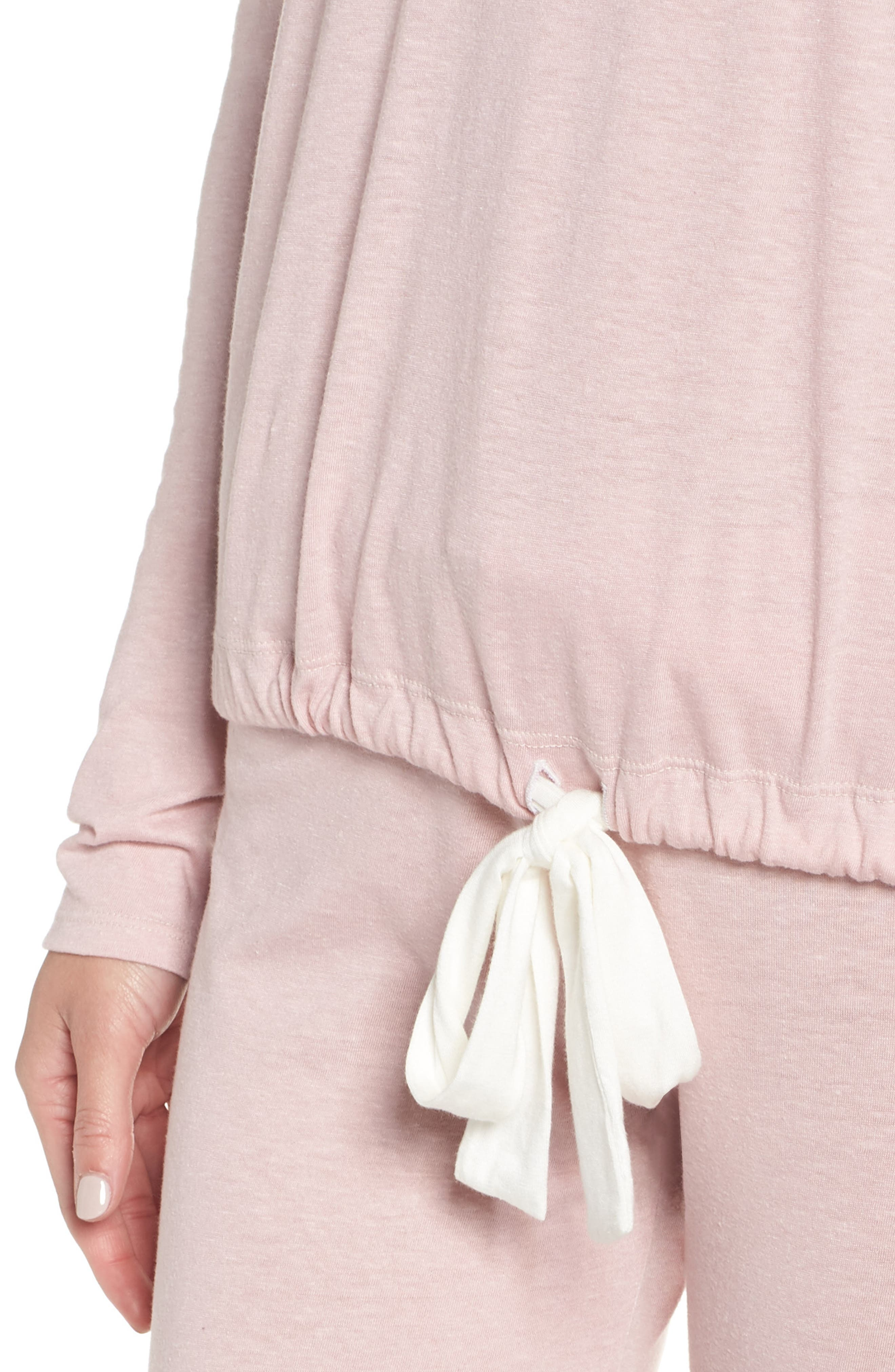 Heather Knit Slouchy Tee,                             Alternate thumbnail 4, color,                             CASHMERE ROSE