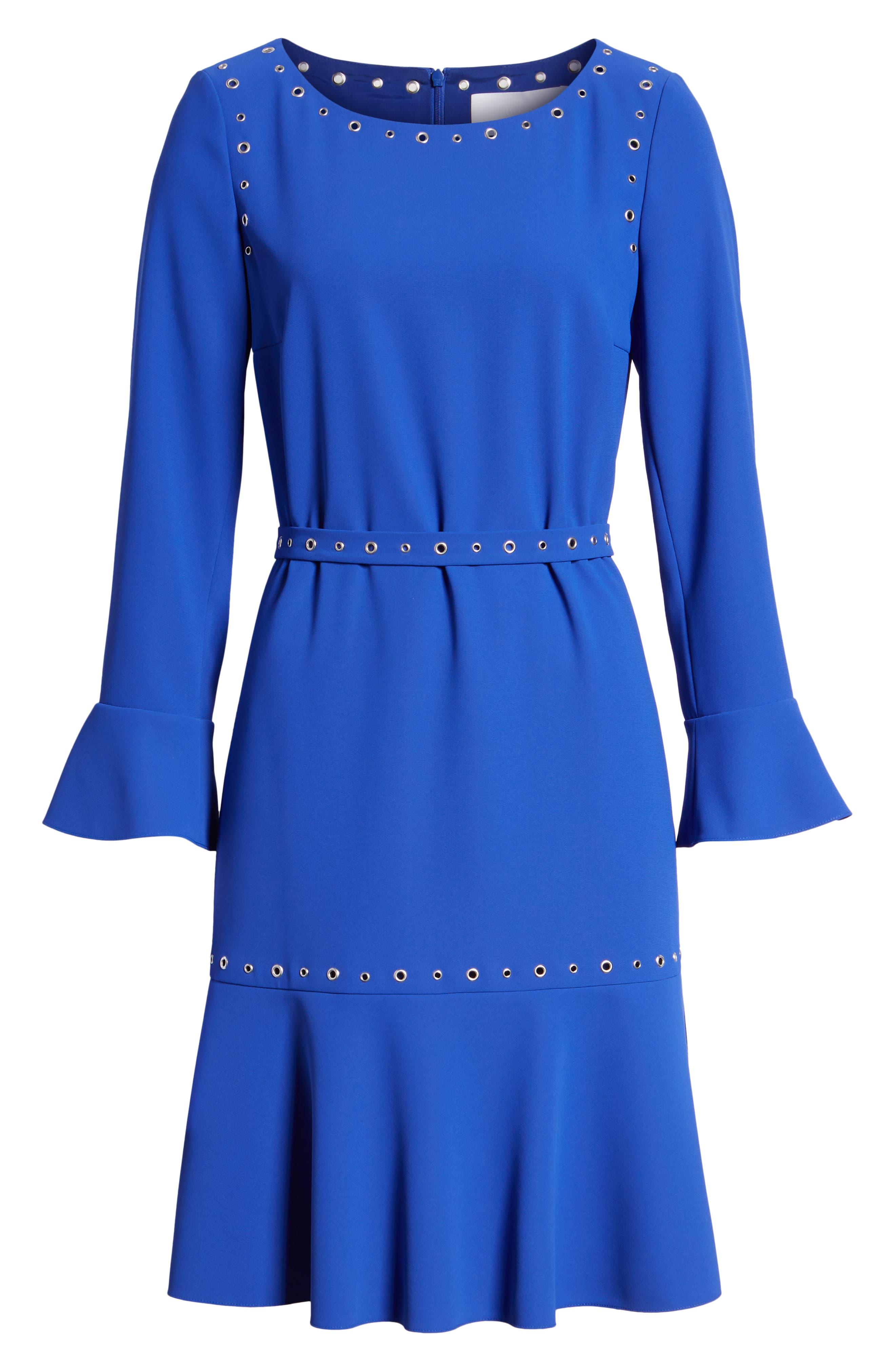 Henryke Rivet Crepe Dress,                             Alternate thumbnail 7, color,                             SAILOR BLUE