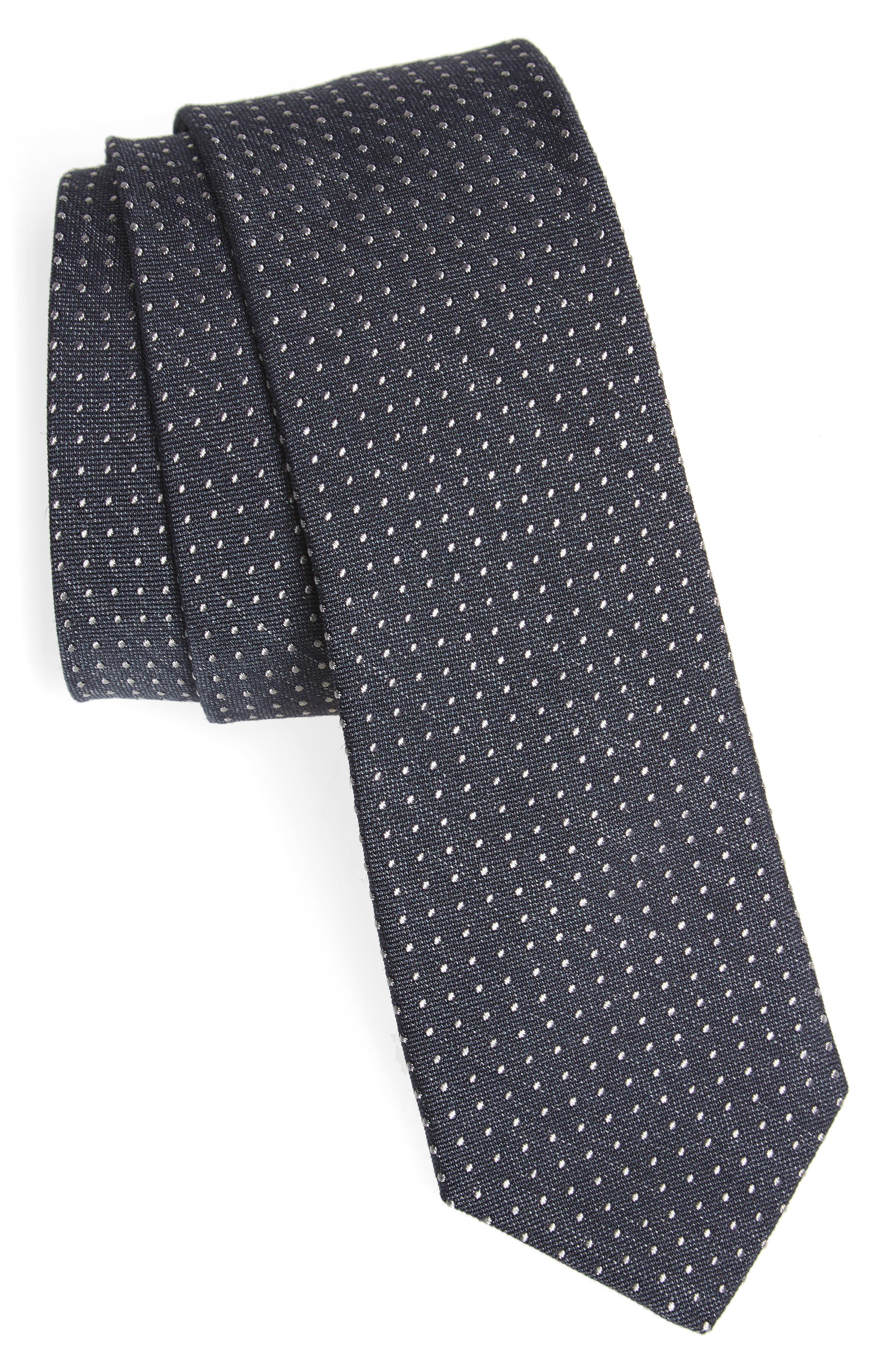 Dot Skinny Silk Tie,                             Main thumbnail 2, color,