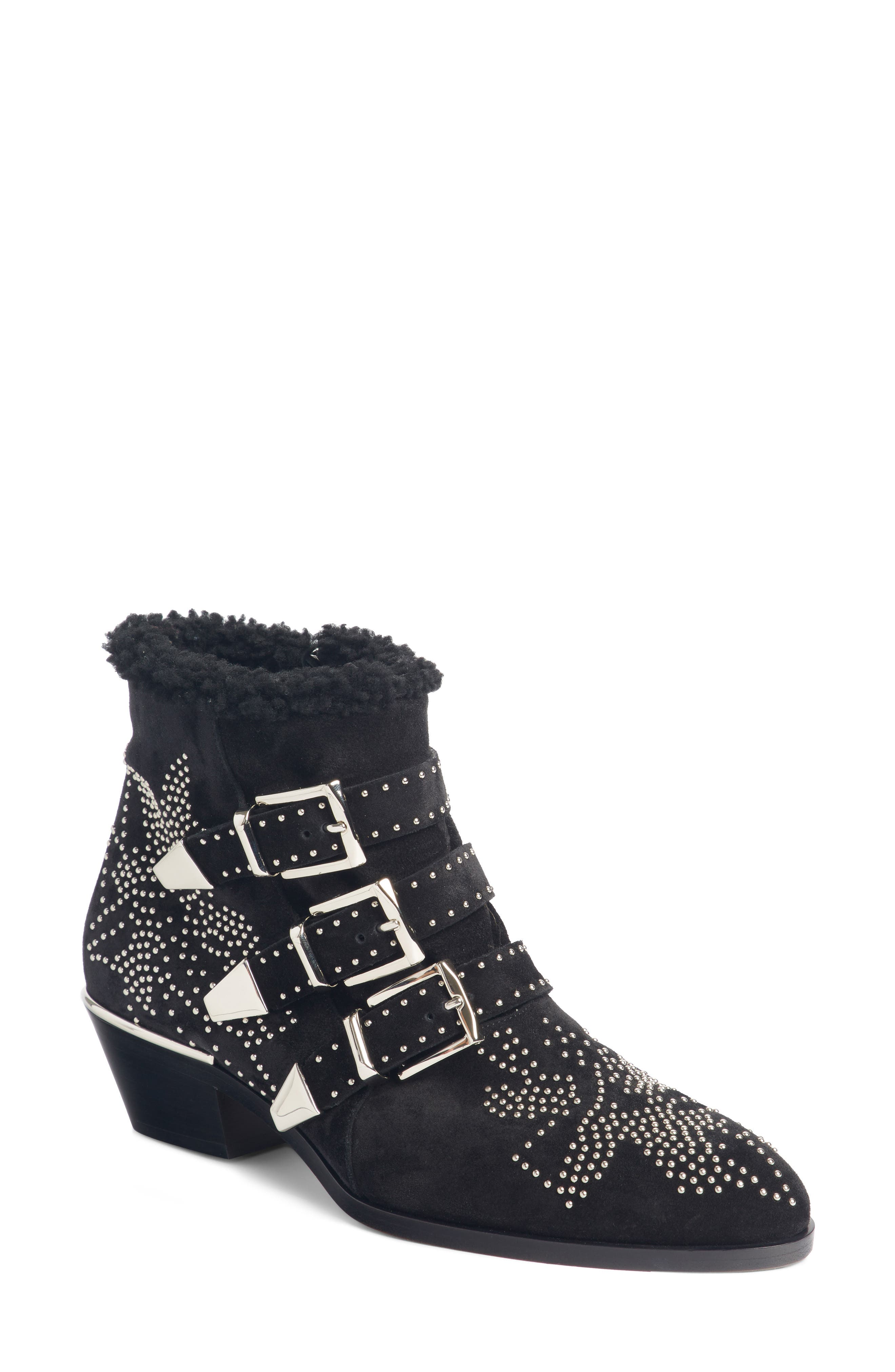 Susanna Genuine Shearling Studded Bootie,                             Main thumbnail 1, color,                             BLACK