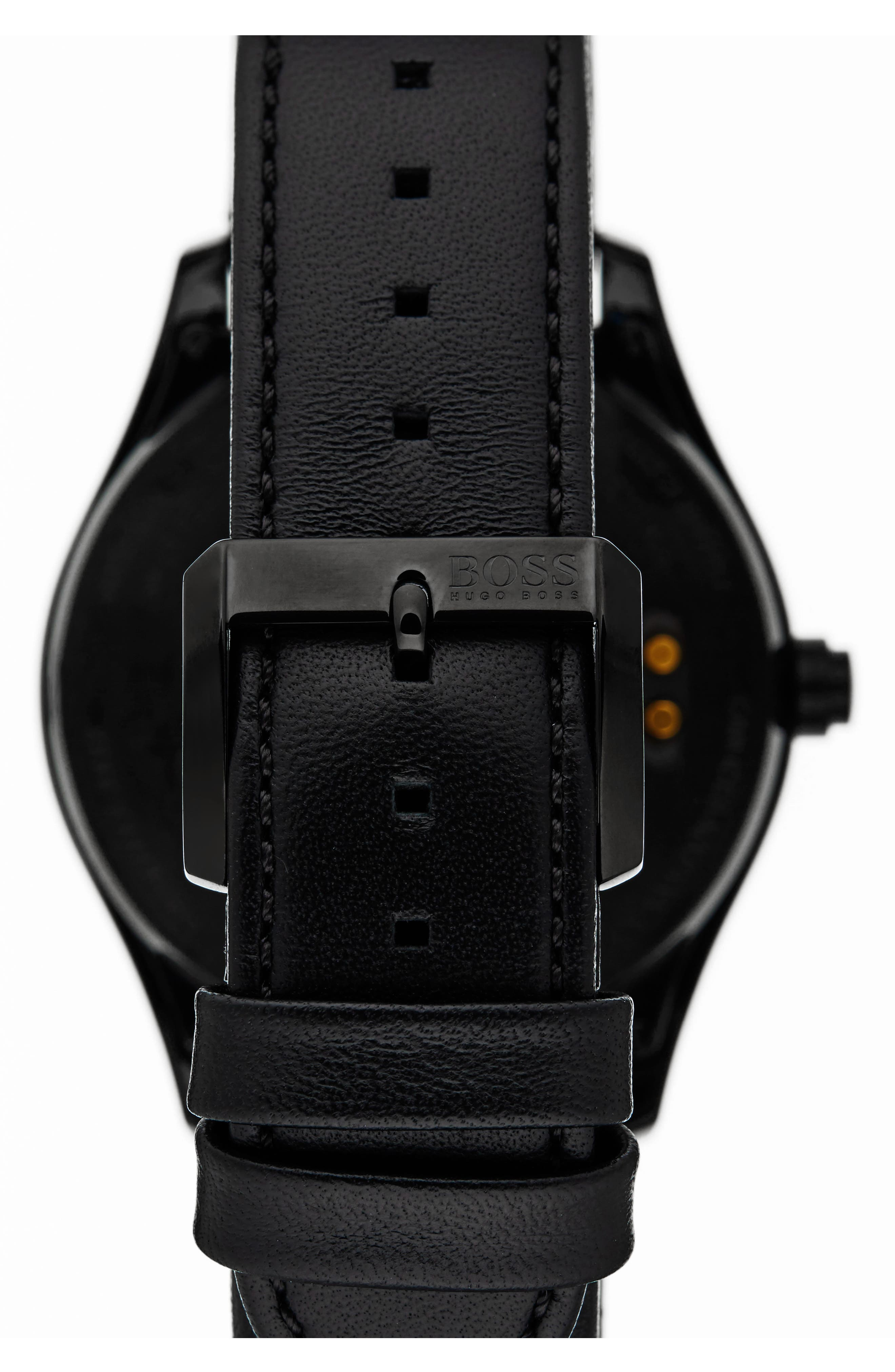 Touch Leather Strap Smart Watch Set,                             Alternate thumbnail 2, color,                             001