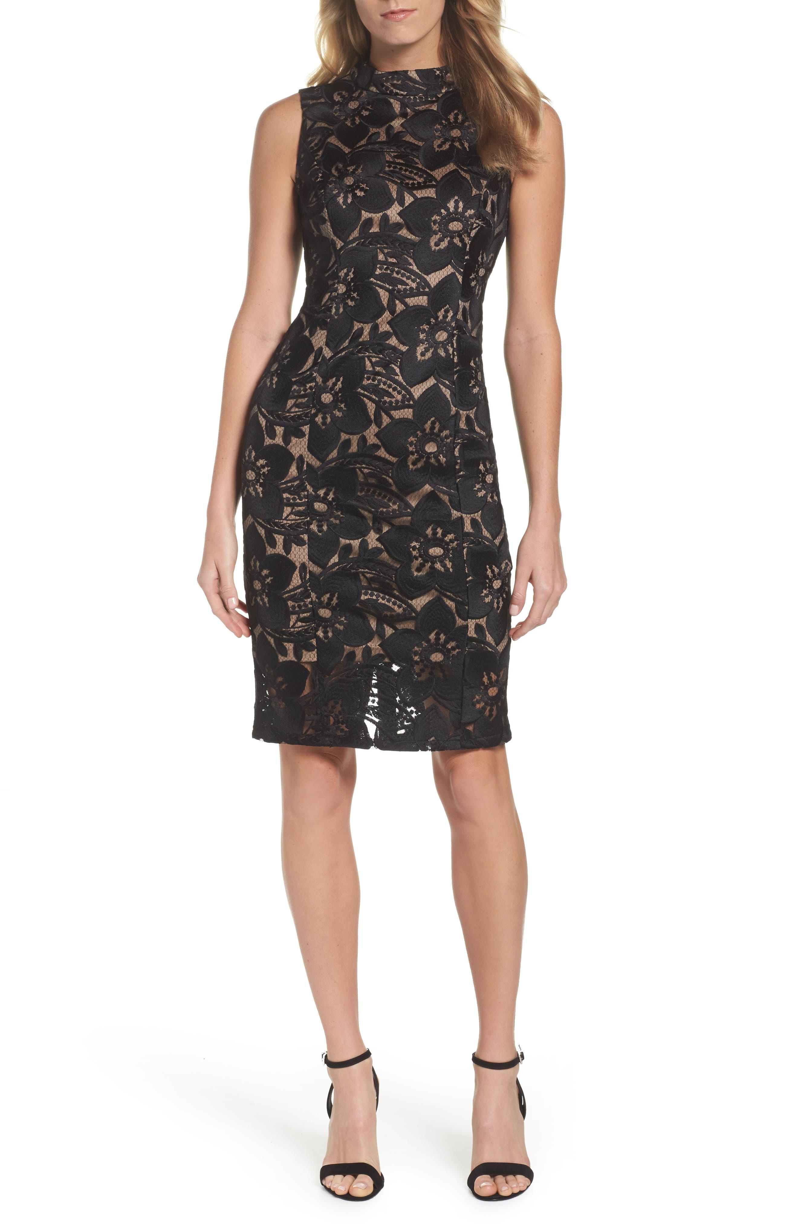 ADRIANNA PAPELL,                             Lace Sheath Dress,                             Main thumbnail 1, color,                             002