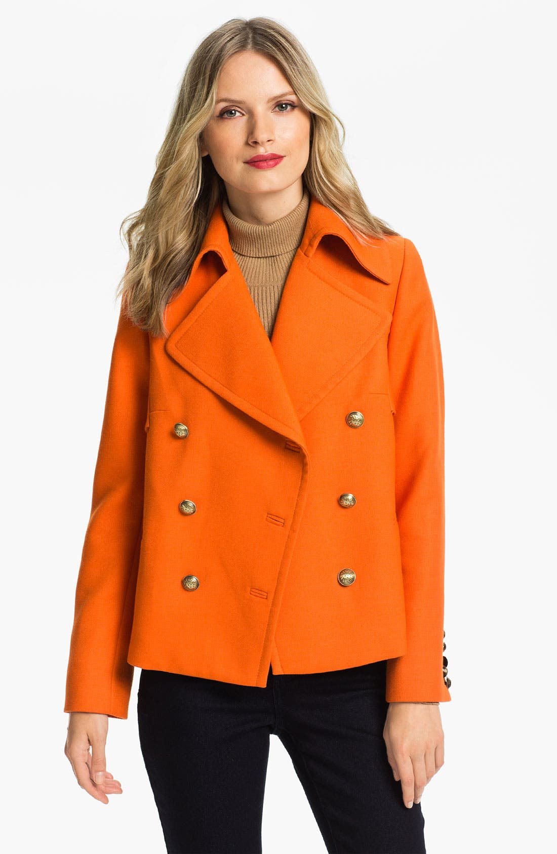 ANNE KLEIN,                             Double Breasted Peacoat,                             Alternate thumbnail 2, color,                             810