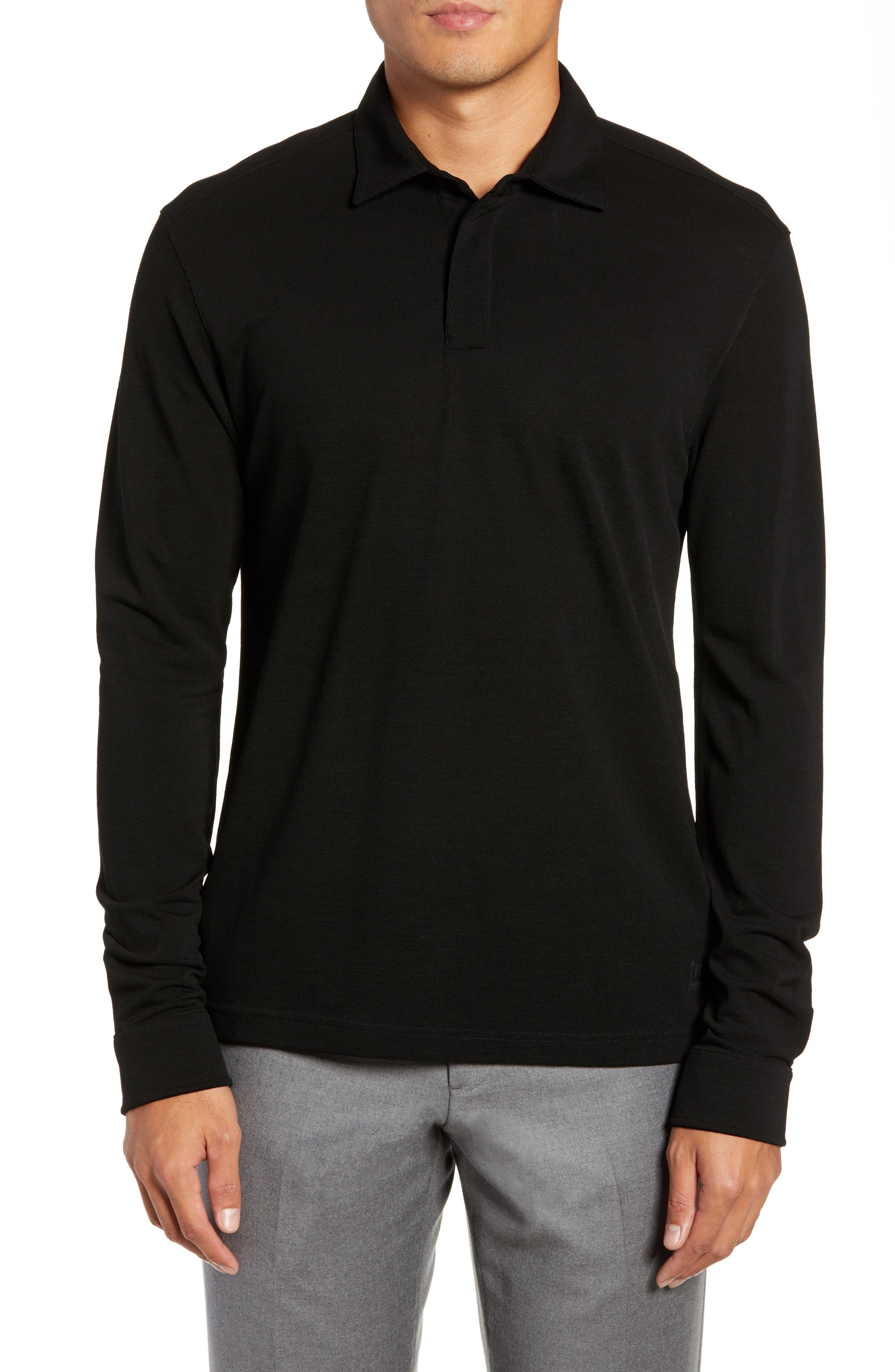 Trim Fit Wool Long Sleeve Polo Shirt,                         Main,                         color, BLACK