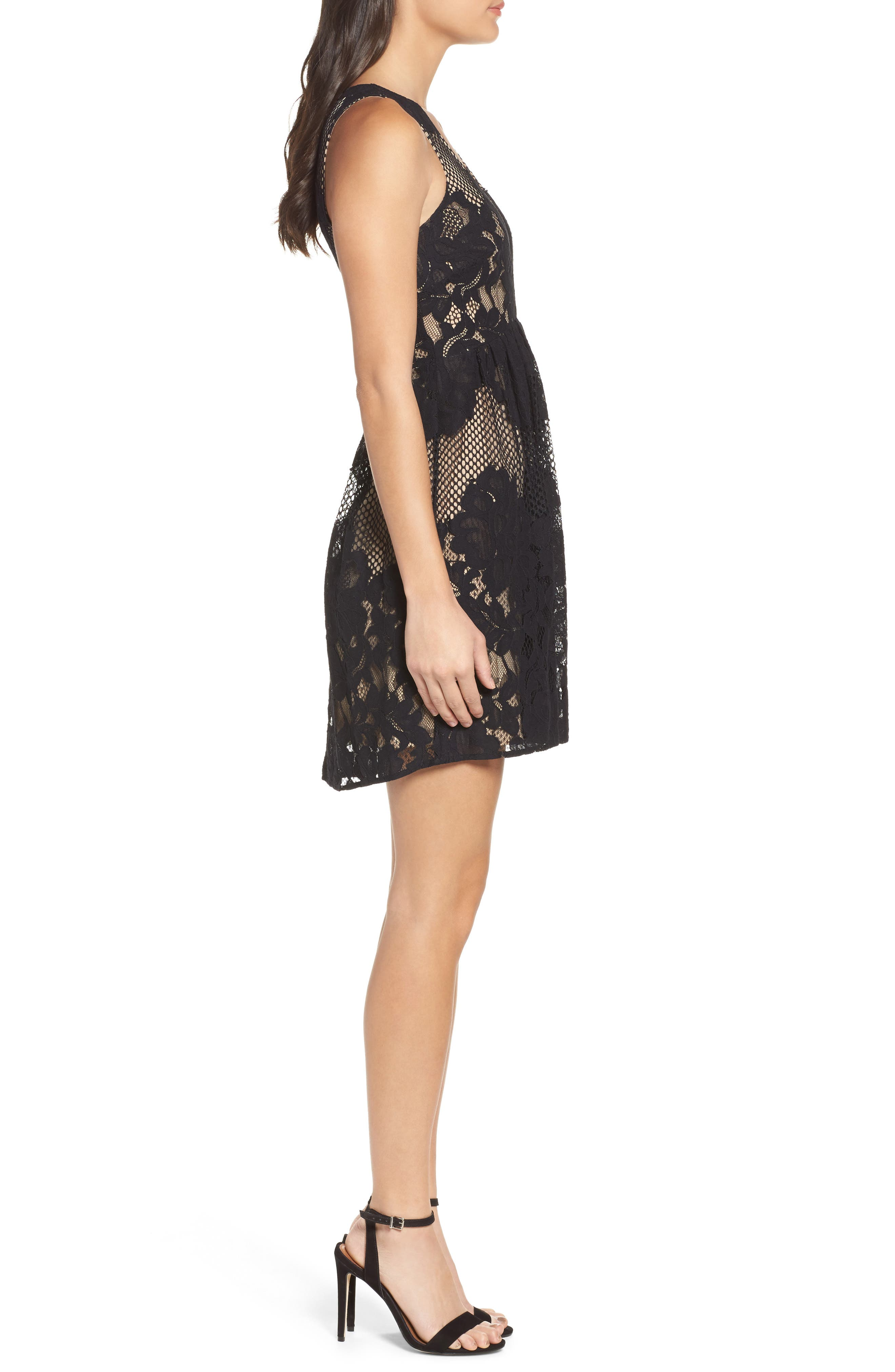 La Grande Roue Lace Skater Dress,                             Alternate thumbnail 3, color,