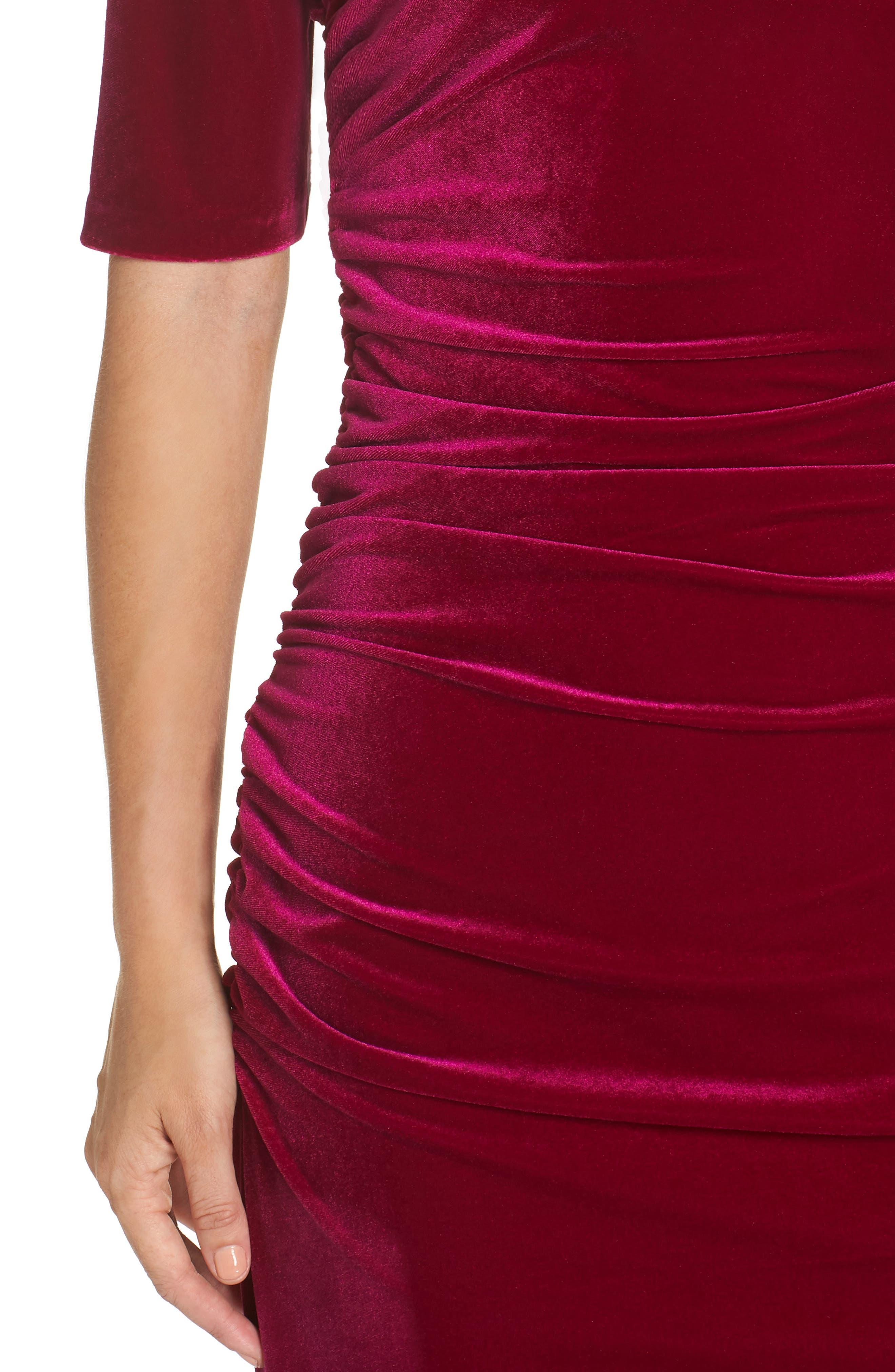 Elbow Sleeve Velvet Sheath Dress,                             Alternate thumbnail 4, color,                             FUSCHIA