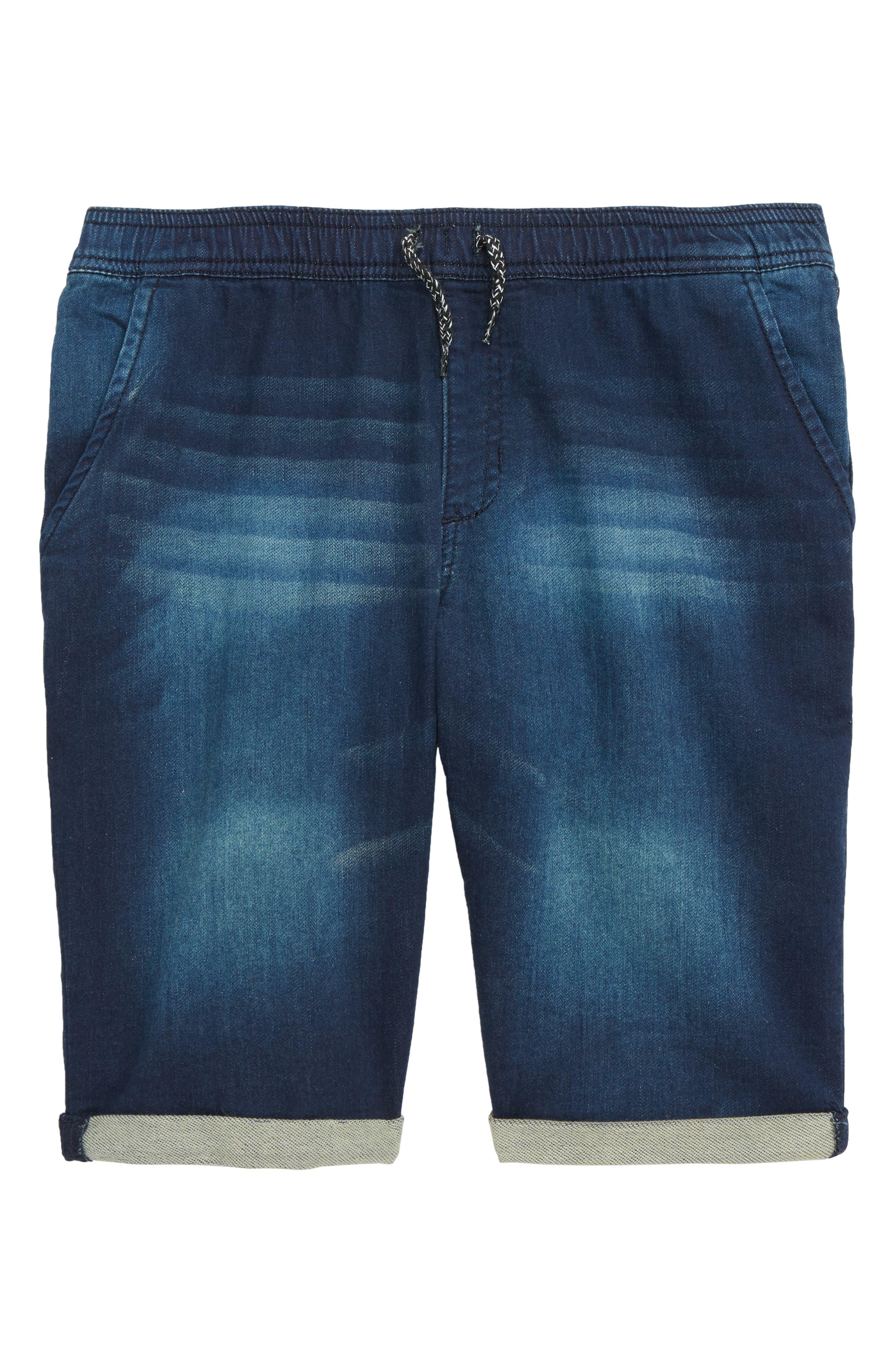 Denim Jogger Shorts, Main, color, NILE WASH