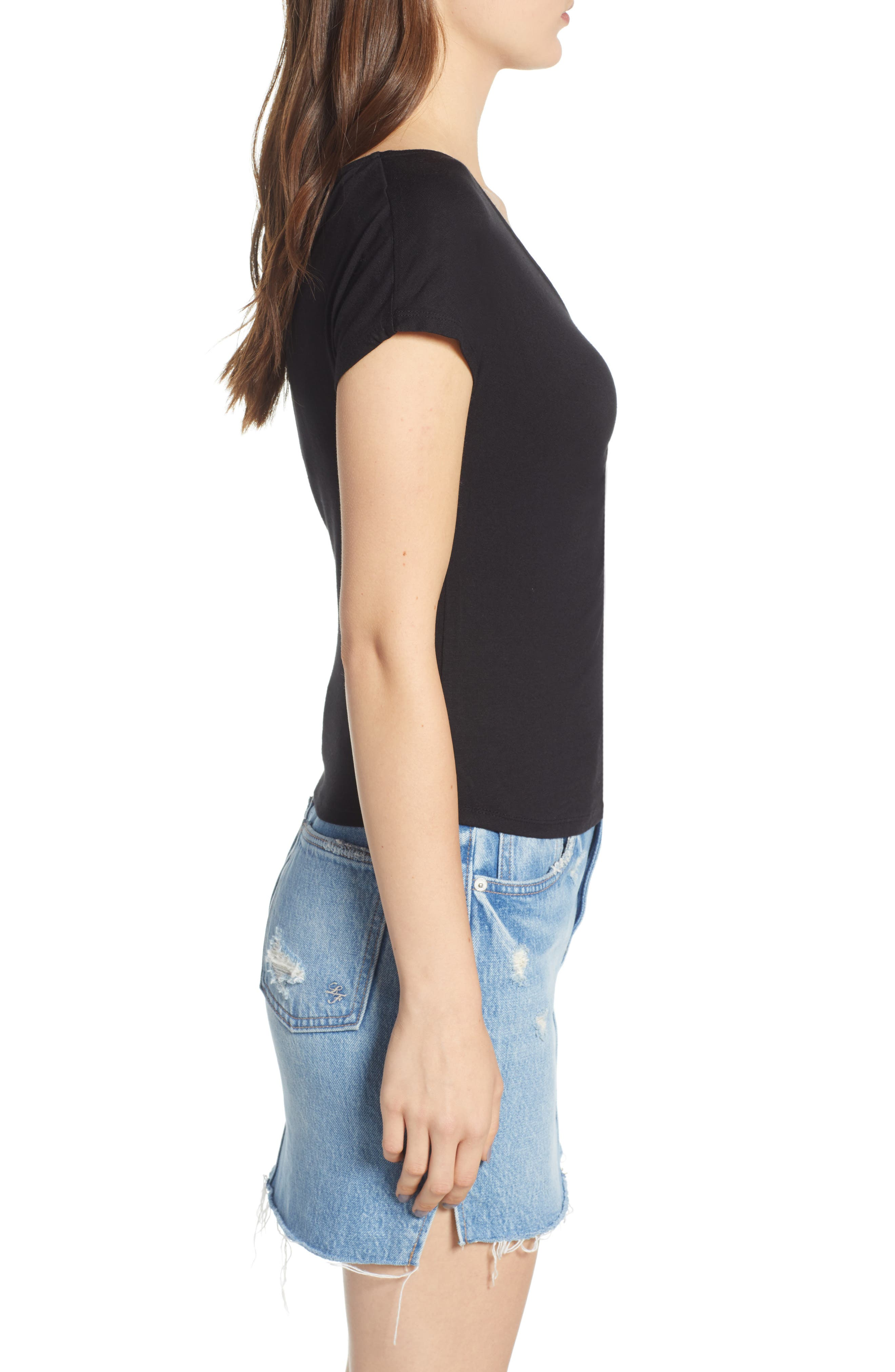 Cinch Front Tee,                             Alternate thumbnail 3, color,                             001