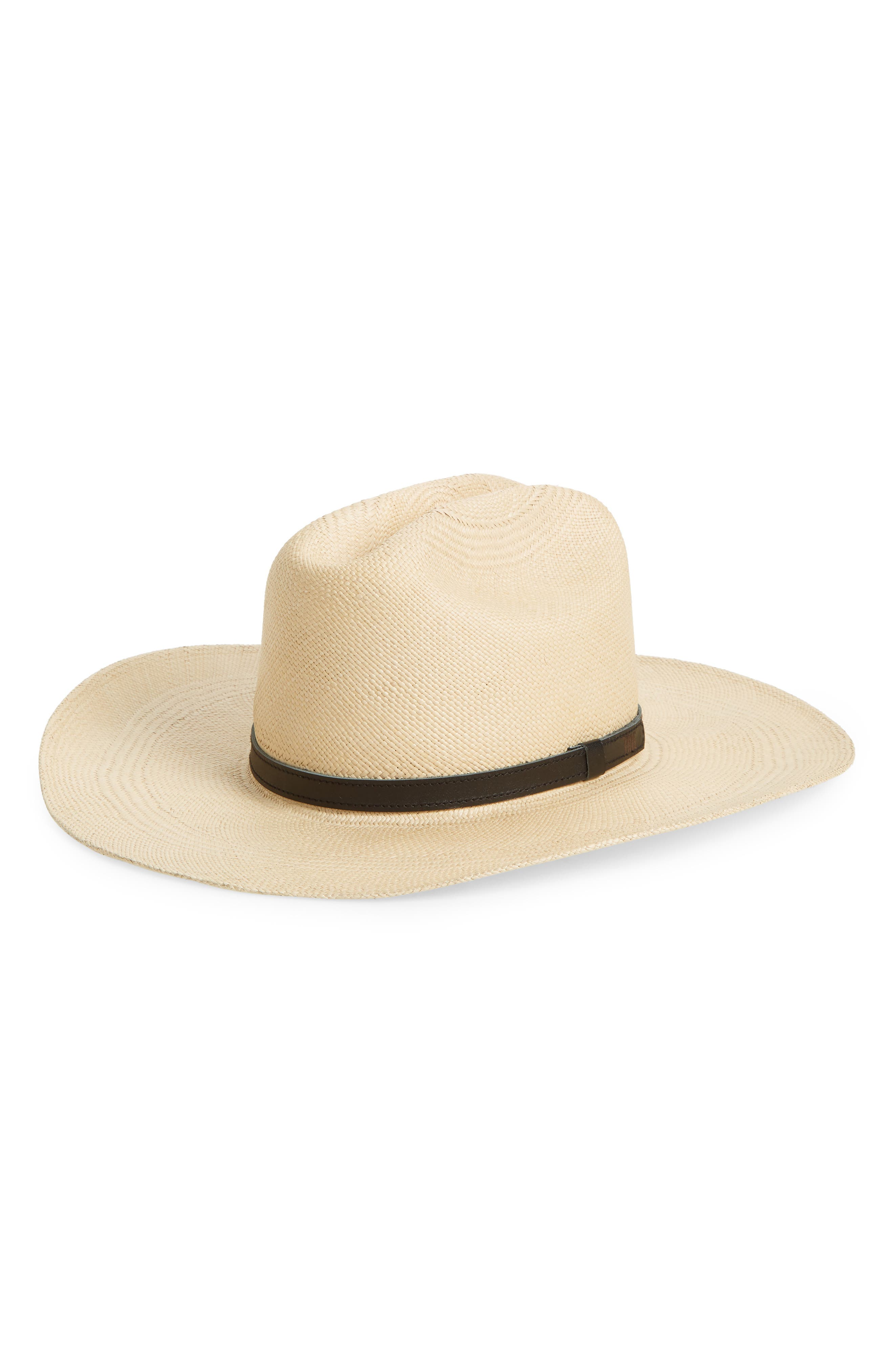 Woven Panama Straw Hat, Main, color, TANNED