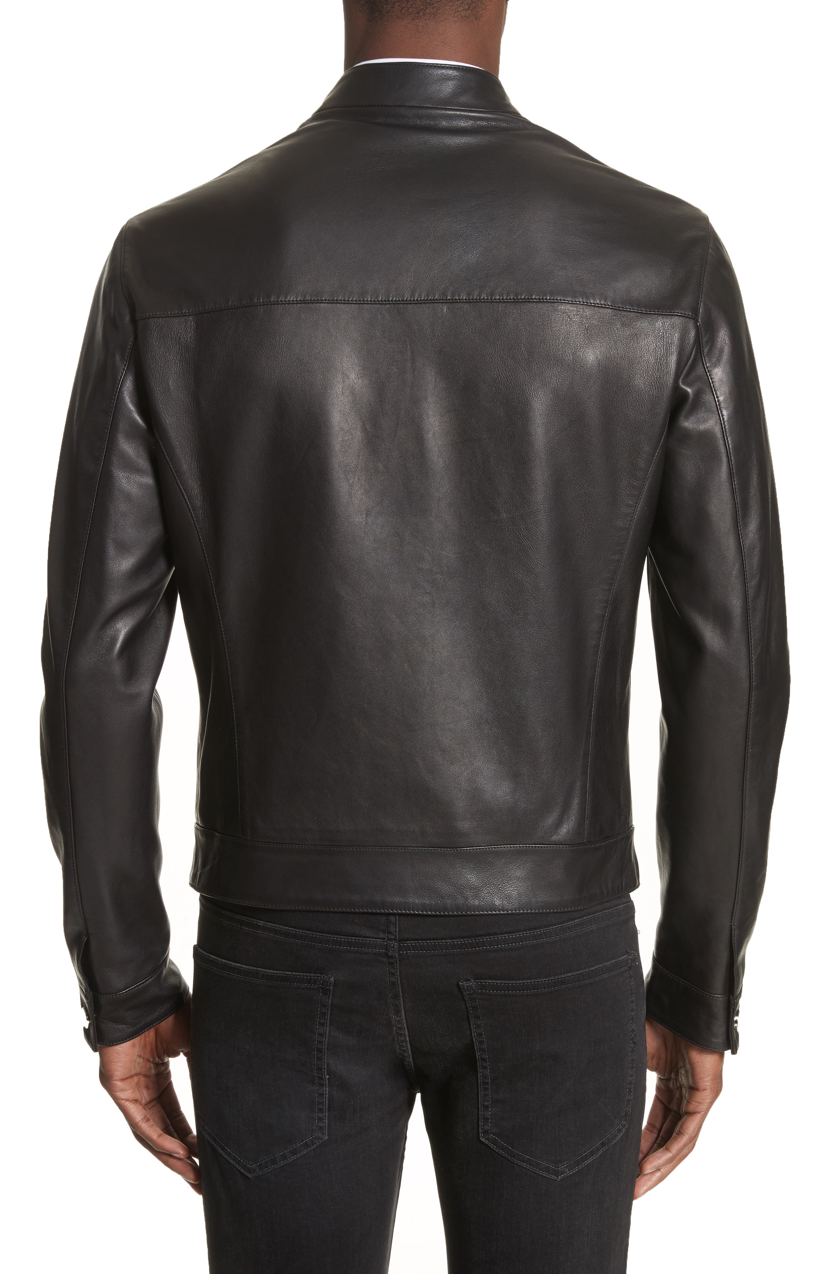 Band Collar Leather Jacket,                             Alternate thumbnail 2, color,                             130