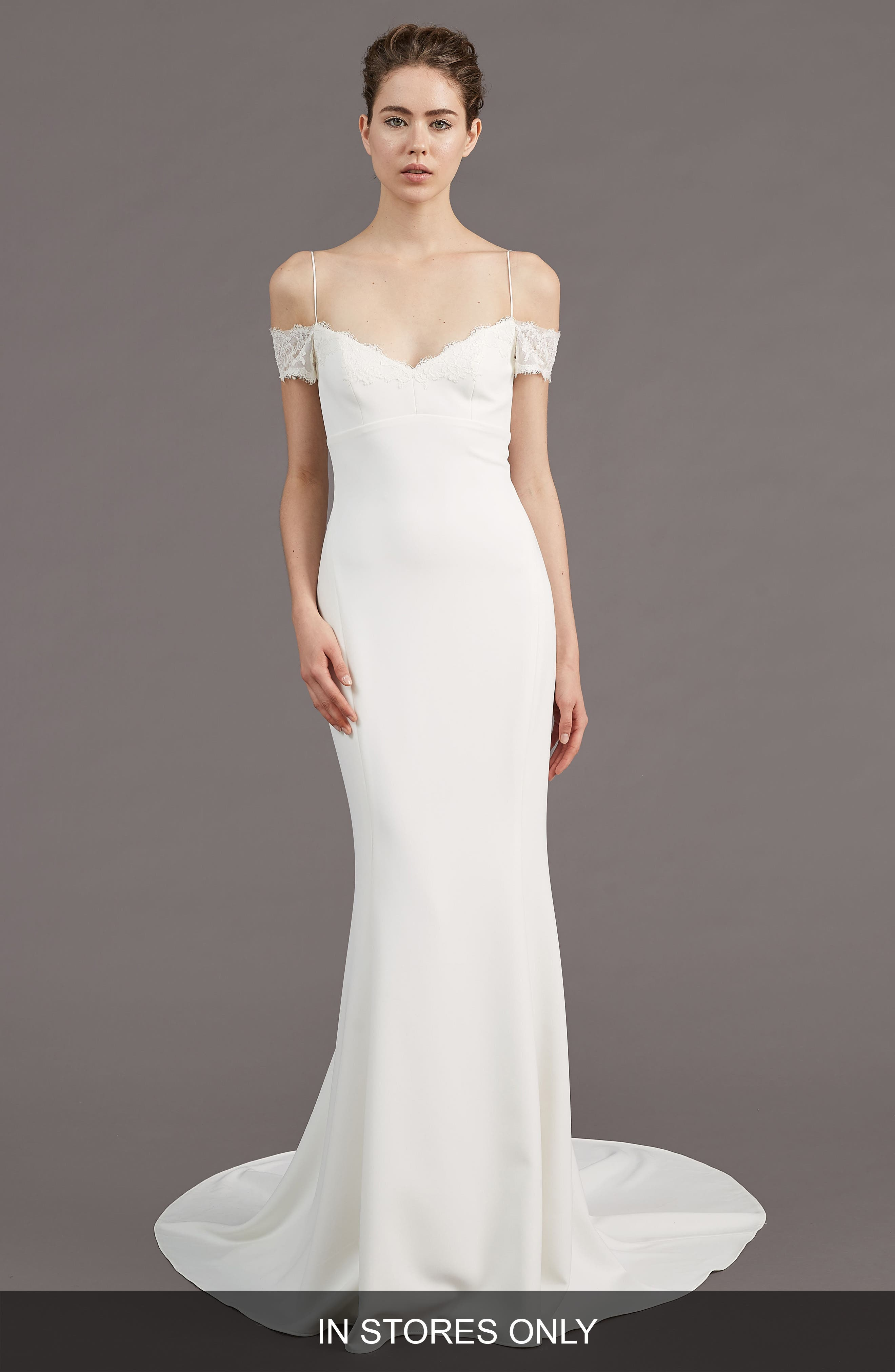 Mel Off the Shoulder Trumpet Gown,                         Main,                         color, IVORY