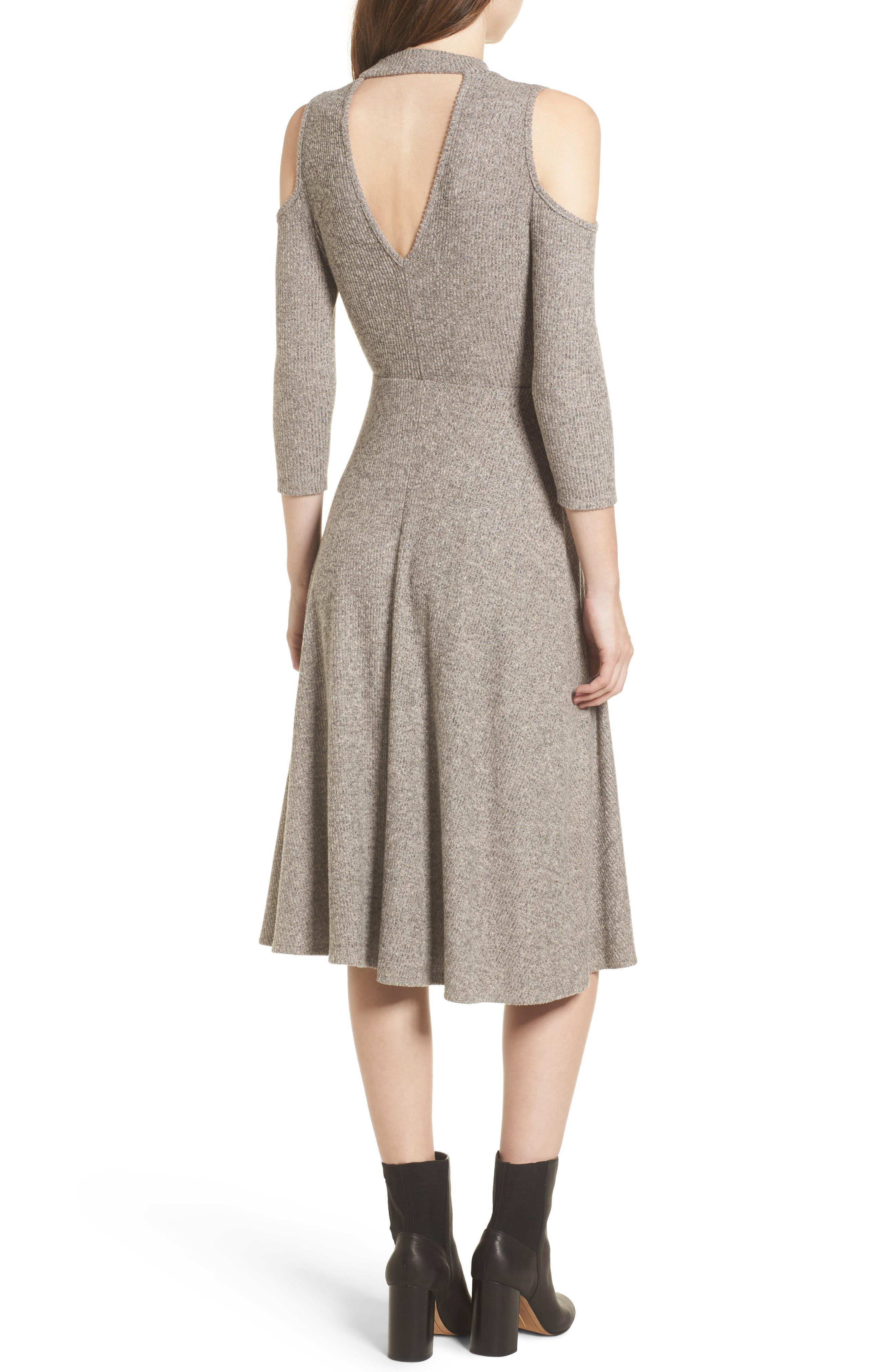 Choker Neck Cold Shoulder Midi Dress,                             Alternate thumbnail 2, color,