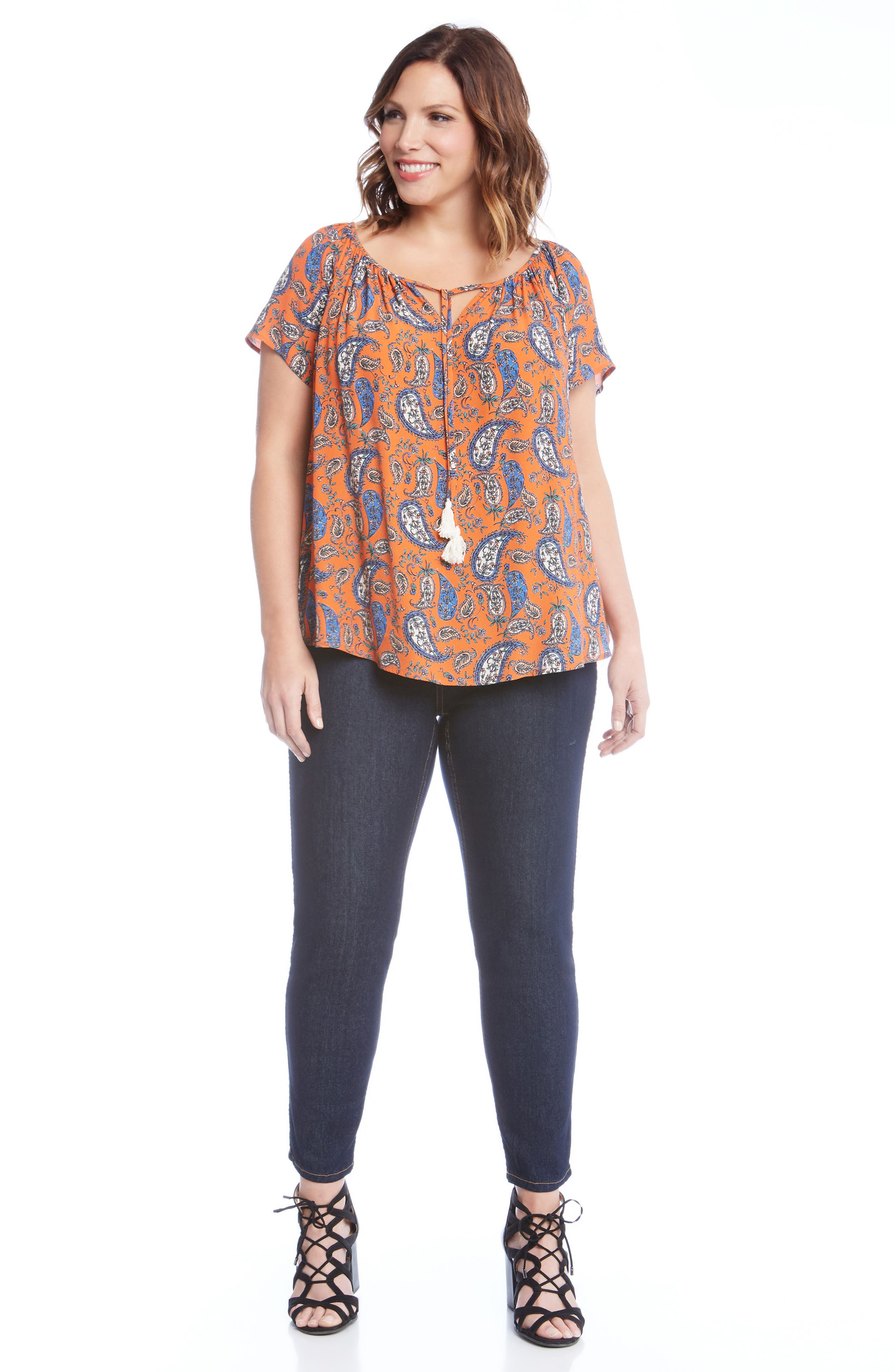 Bell Sleeve Paisley Top,                             Alternate thumbnail 3, color,                             860