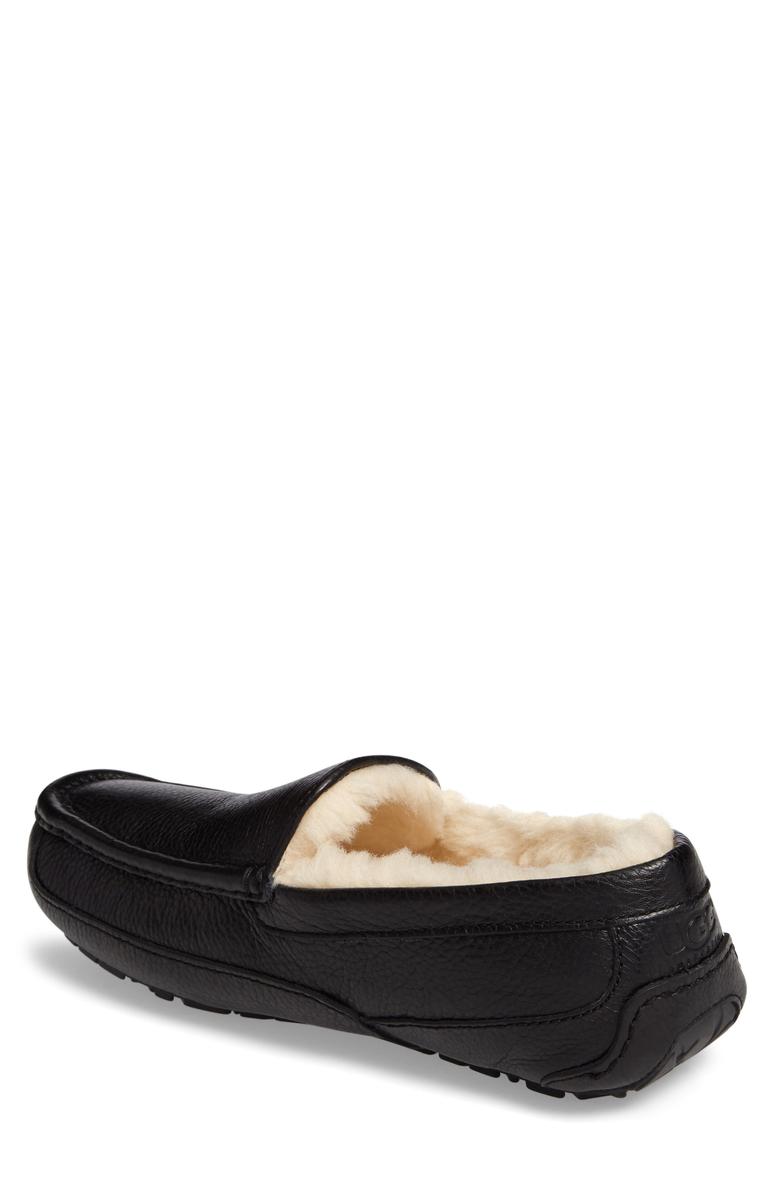 Ascot Leather Slipper,                             Alternate thumbnail 2, color,                             BLACK
