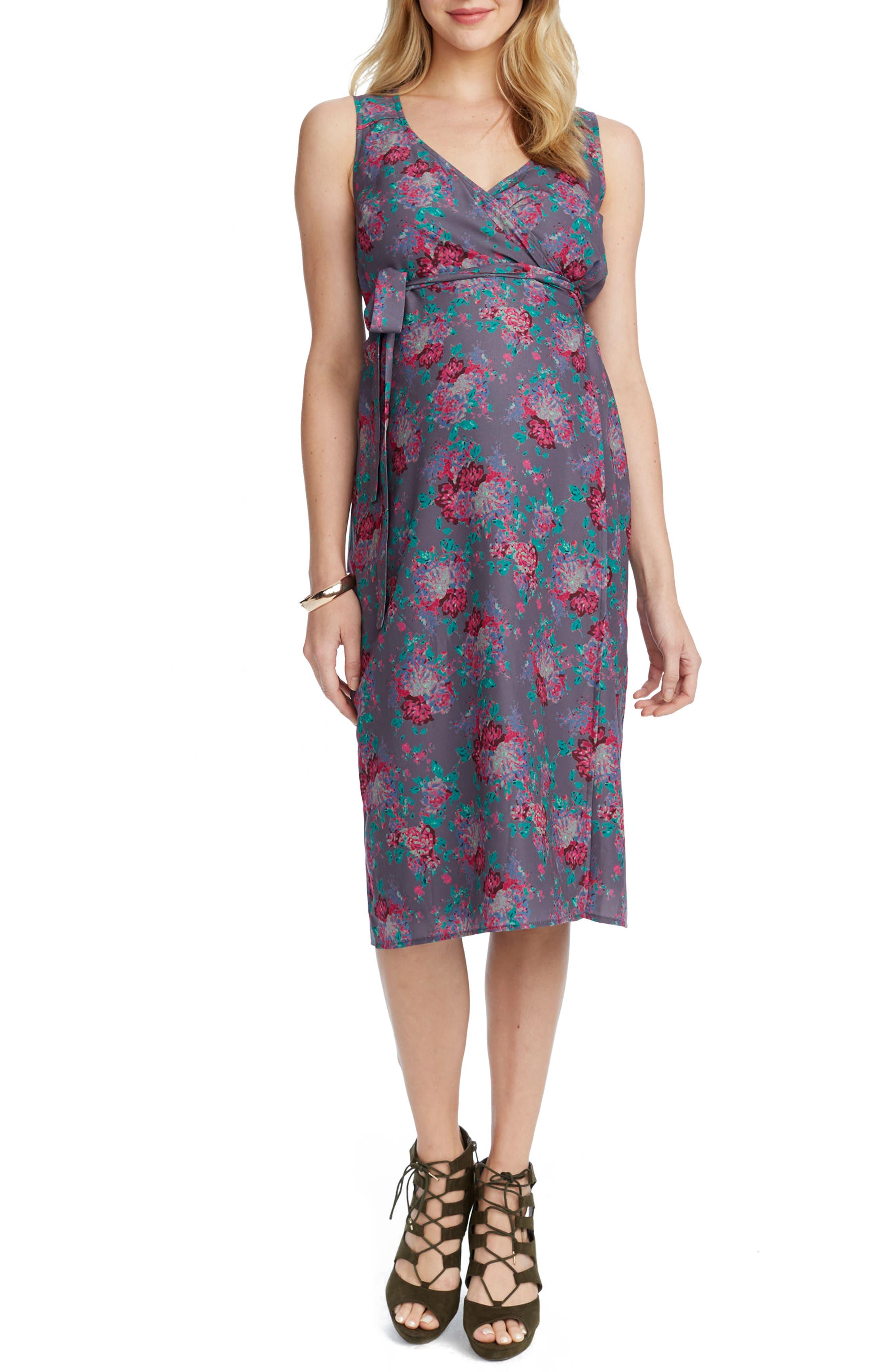 Tara Floral Maternity/Nursing Wrap Dress,                         Main,                         color, SLATE COMBO