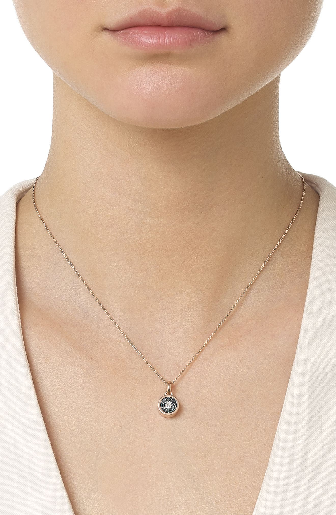 Evil Eye Diamond Pendant Charm,                             Alternate thumbnail 2, color,                             ROSE GOLD/ DIAMOND