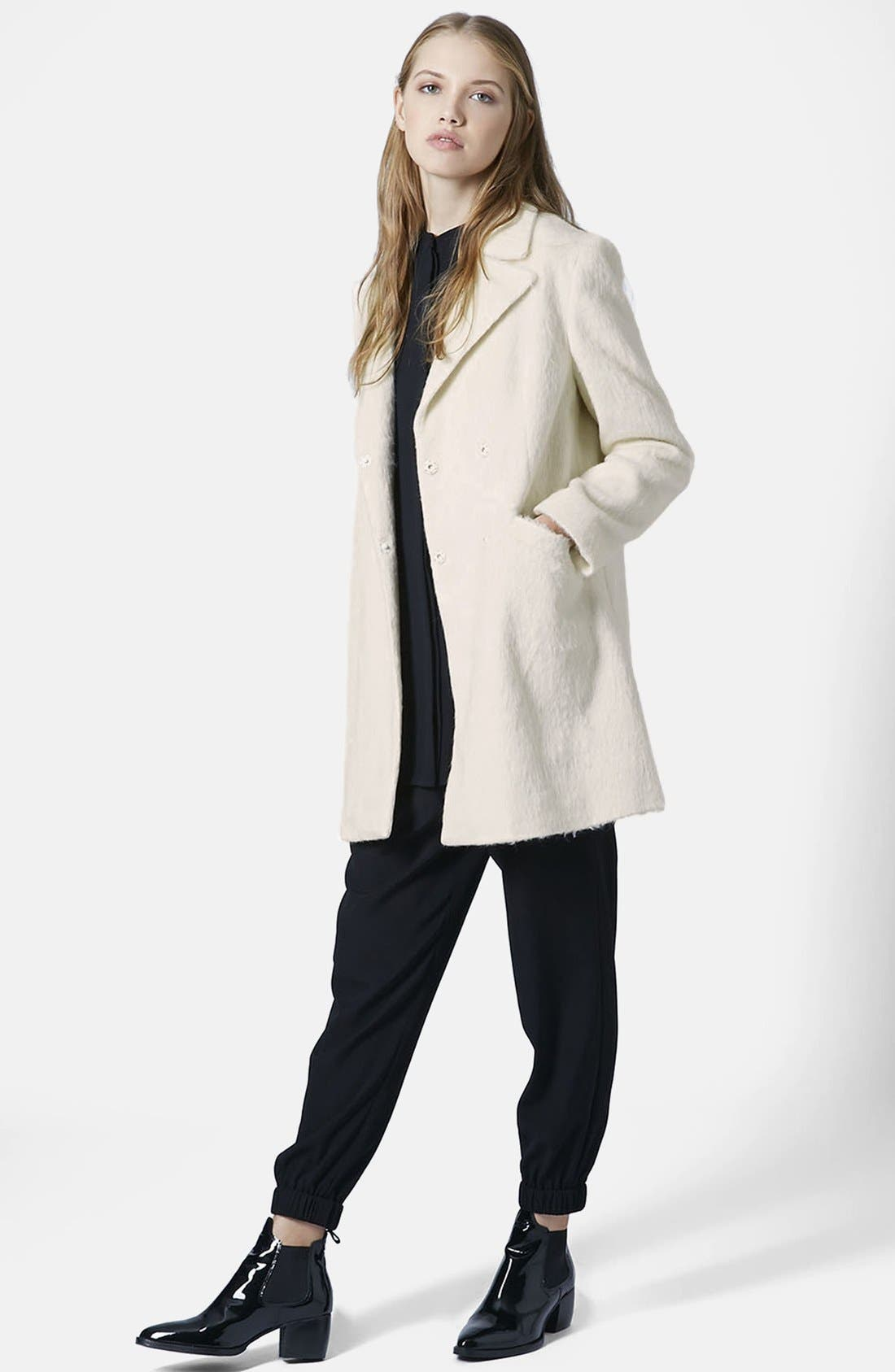 TOPSHOP,                             'Molly' Double Breasted Swing Coat,                             Alternate thumbnail 2, color,                             100