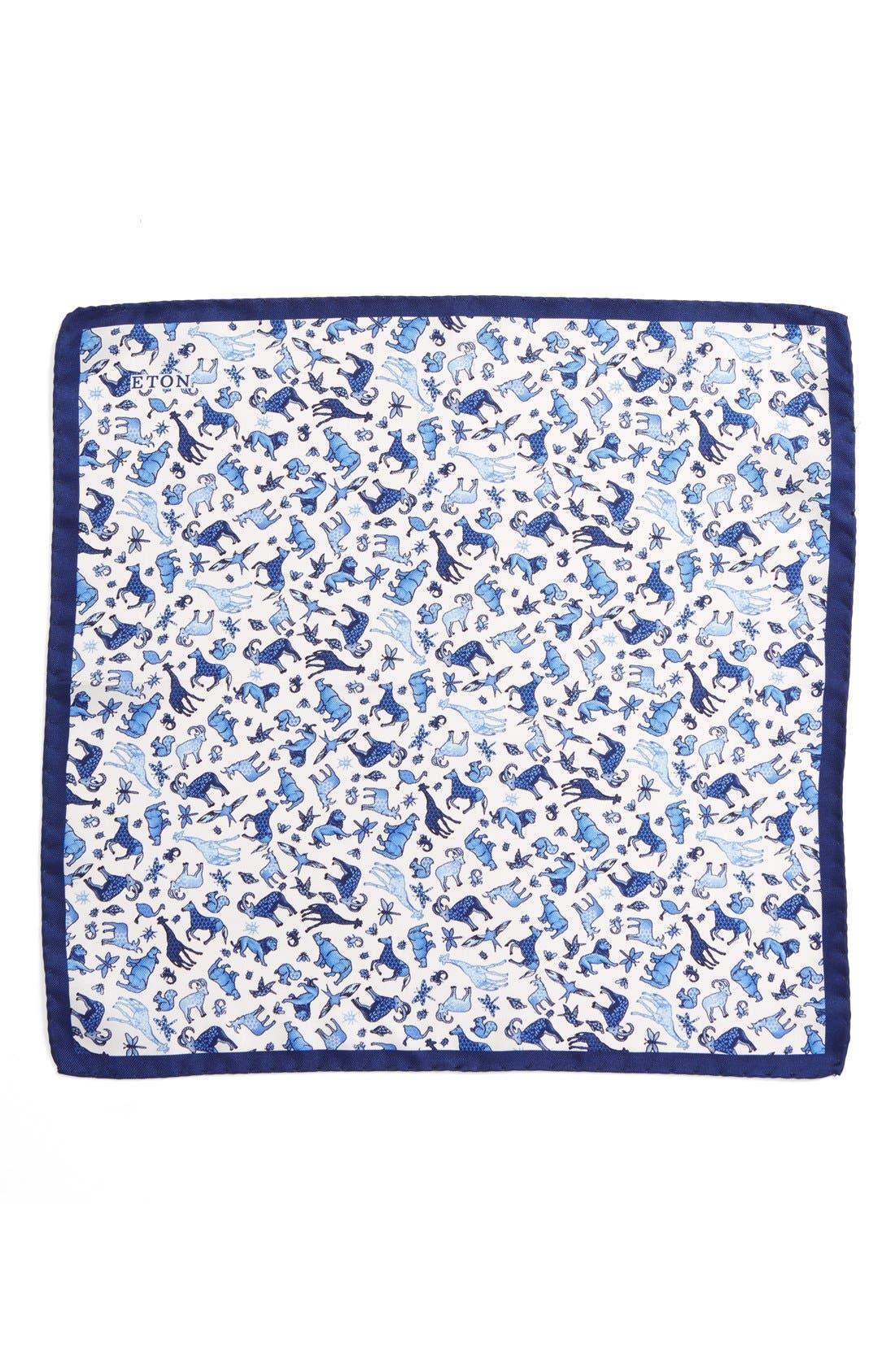 ETON,                             Animal Print Silk Pocket Square,                             Alternate thumbnail 3, color,                             400