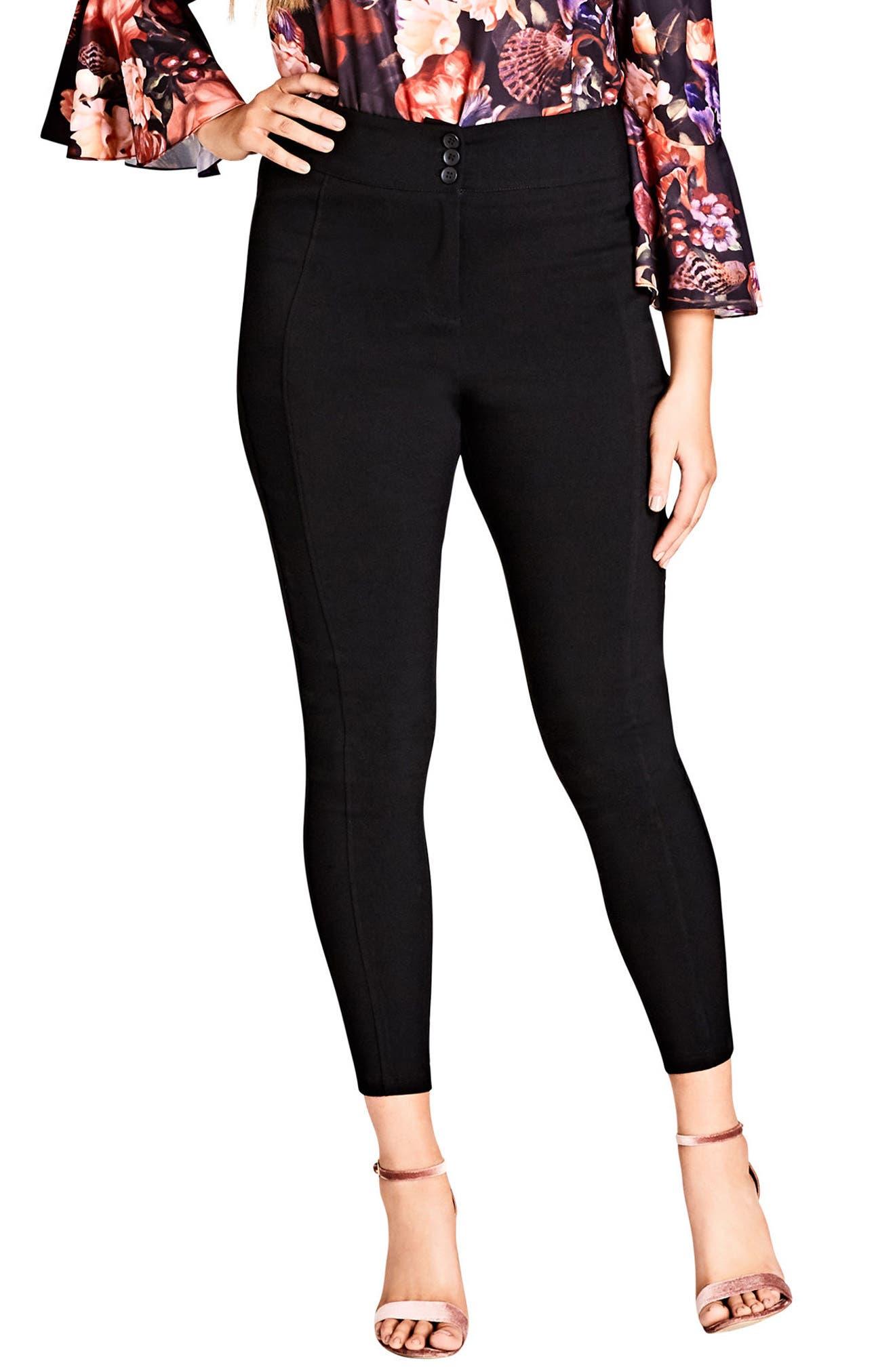 Bengaline Seam Pants,                         Main,                         color, BLACK