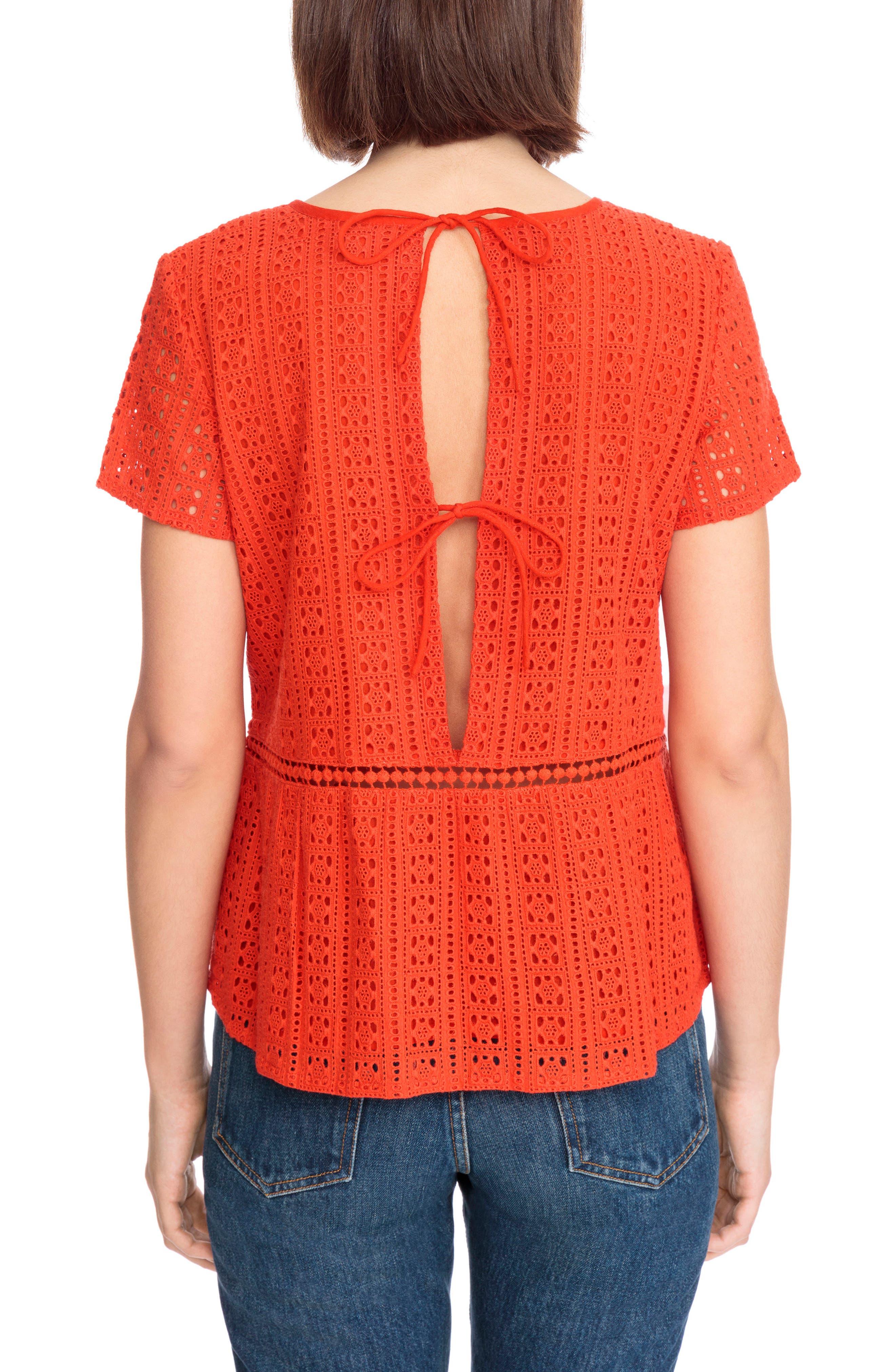 Clo Crochet Blouse,                             Alternate thumbnail 4, color,