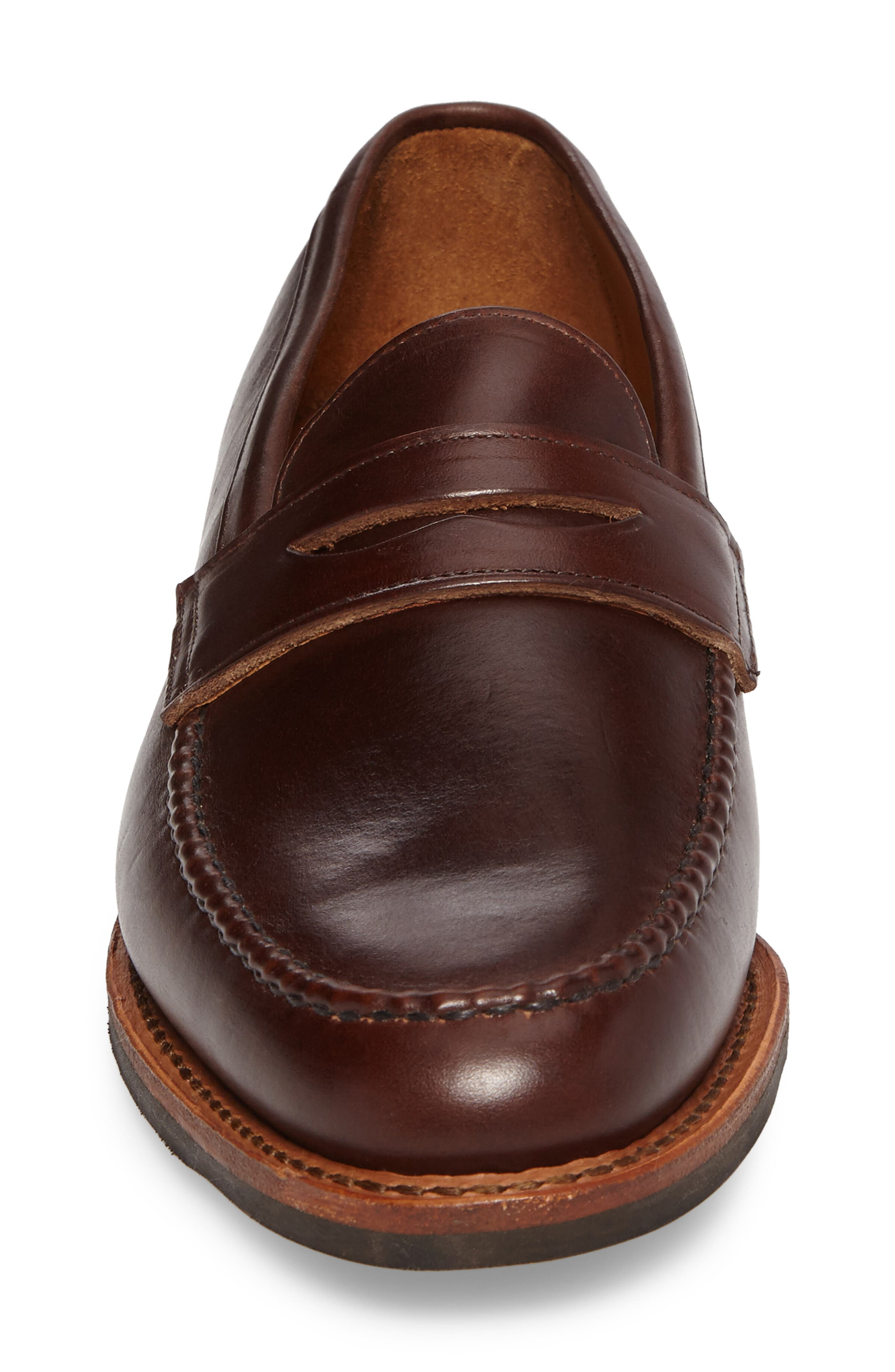 Addison Penny Loafer,                             Alternate thumbnail 4, color,                             BROWN LEATHER