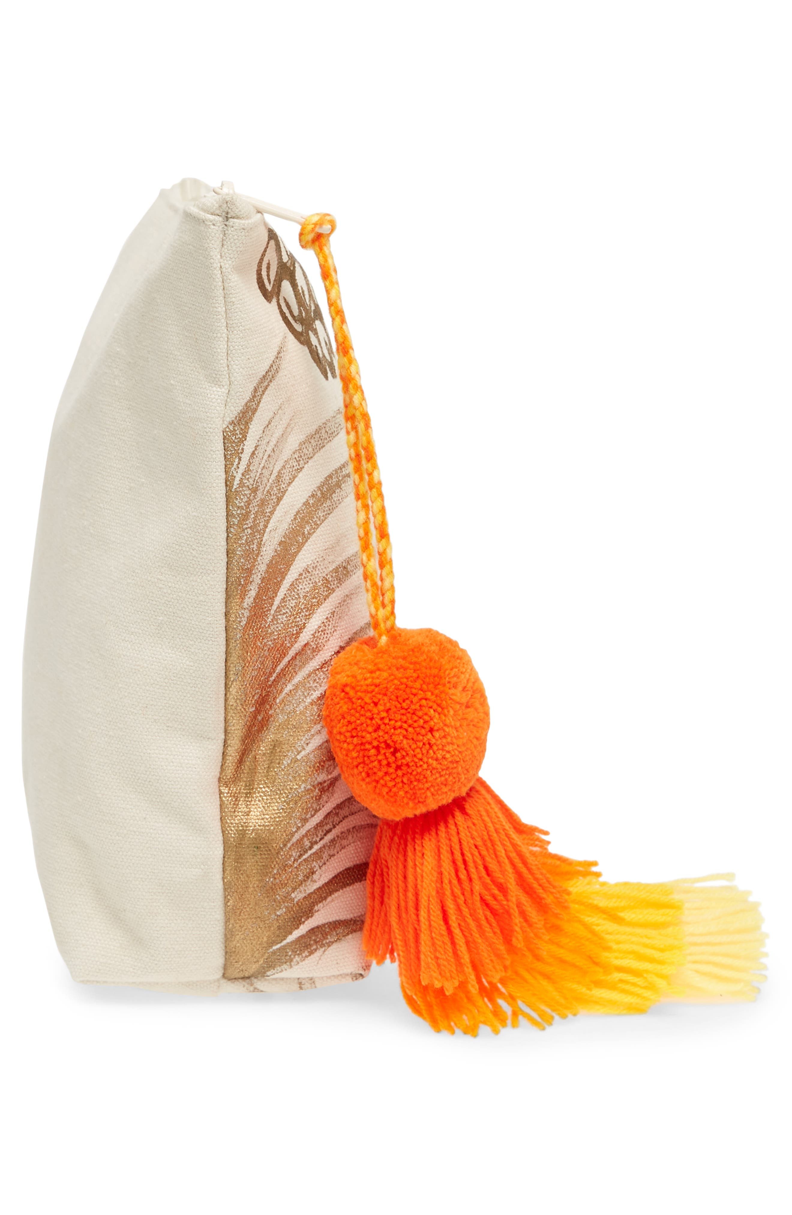 Tropicana Tassel Cosmetic Pouch,                             Alternate thumbnail 4, color,                             GOLD