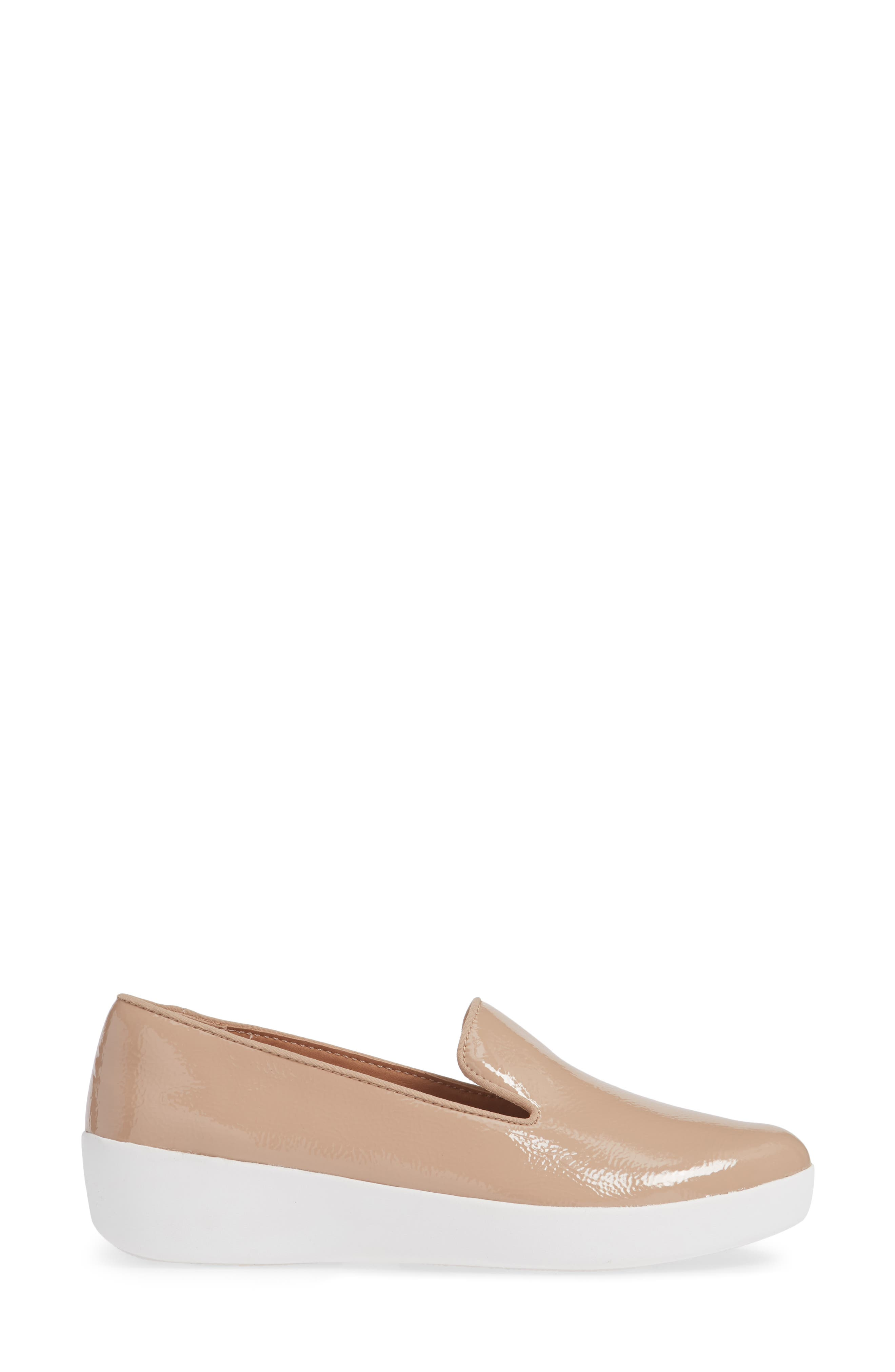 Audrey Smoking Slipper,                             Alternate thumbnail 3, color,                             TAUPE PATENT LEATHER
