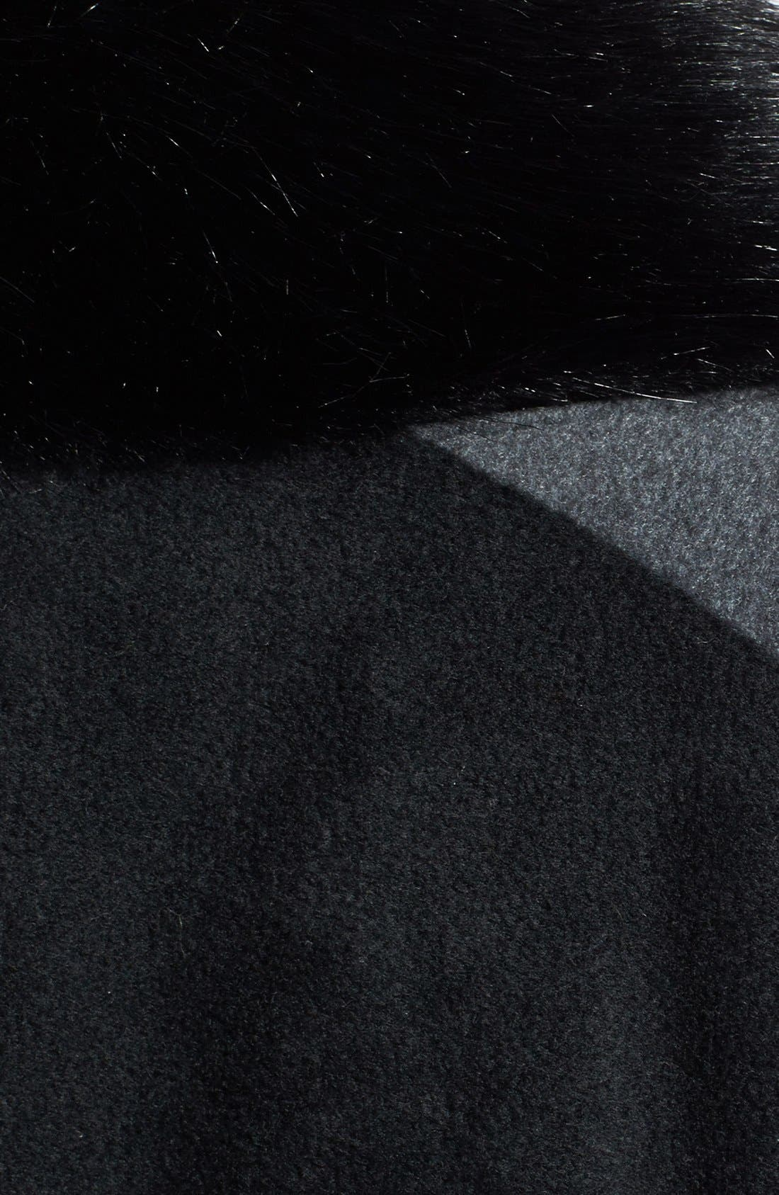 'Karina' Faux Fur Trim Cape,                             Alternate thumbnail 2, color,                             001