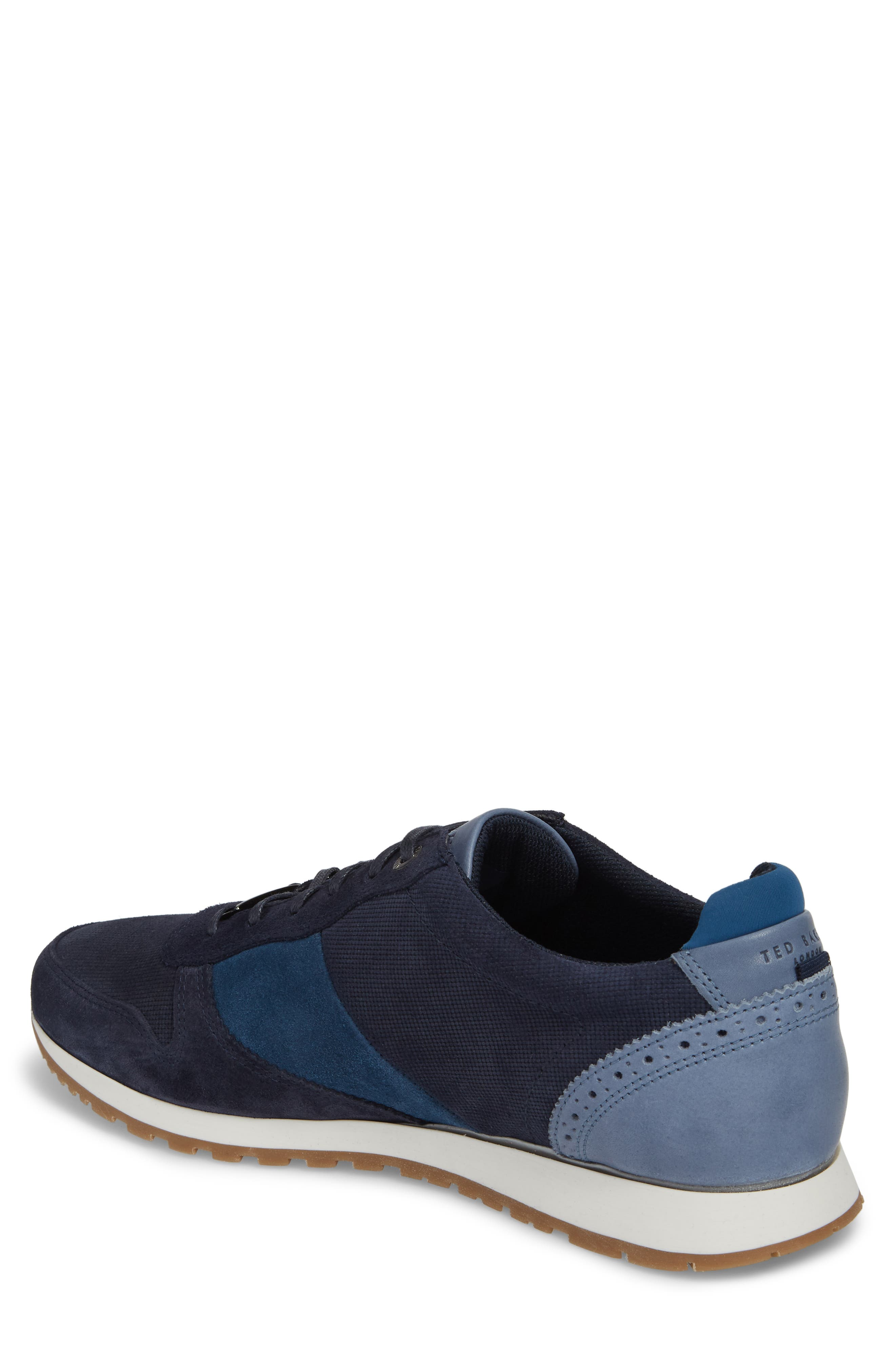 Shindls Low Top Sneaker,                             Alternate thumbnail 2, color,                             BLUE LEATHER/ SUEDE