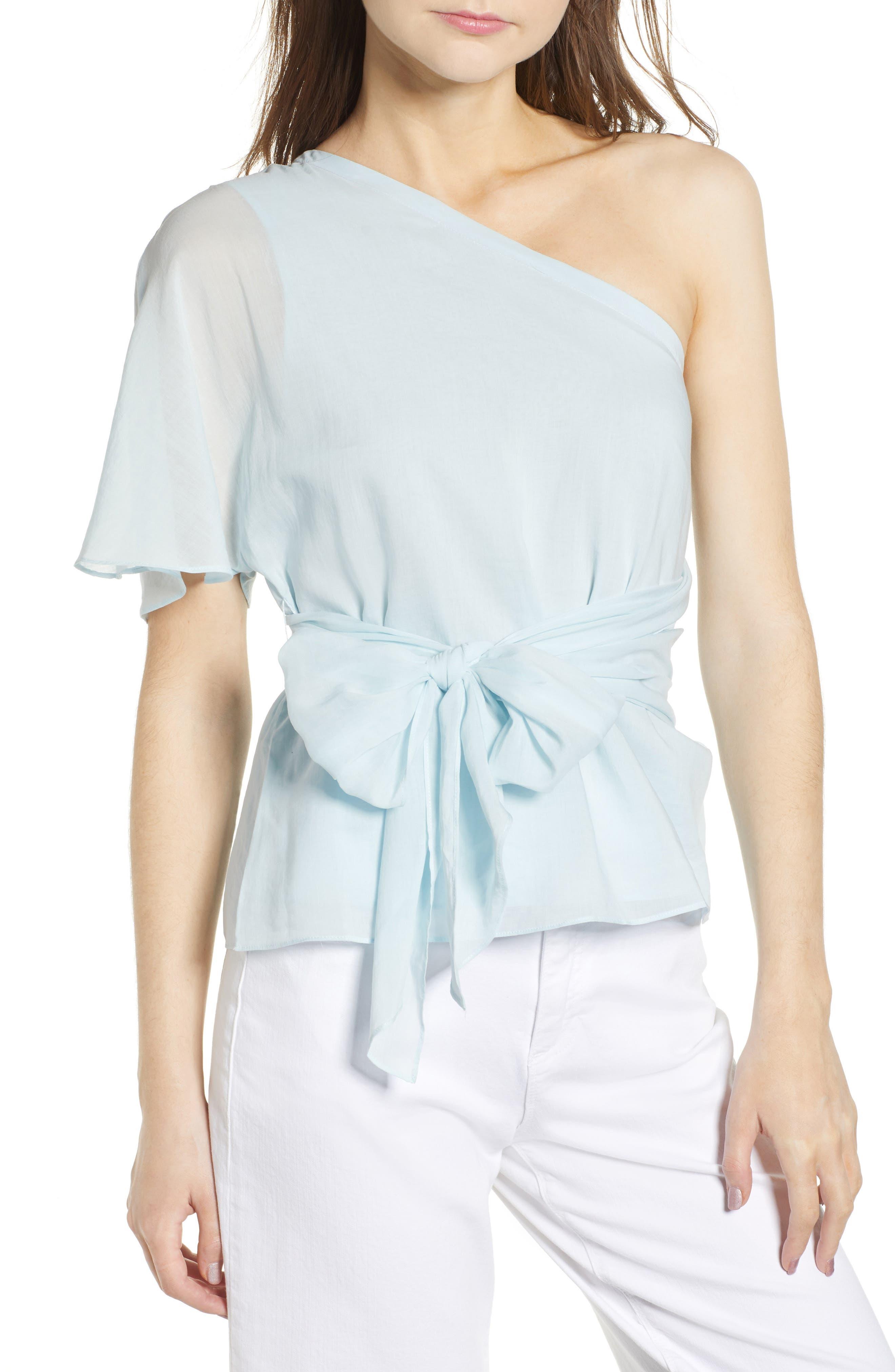 Tie Waist One-Shoulder Blouse,                         Main,                         color, 470