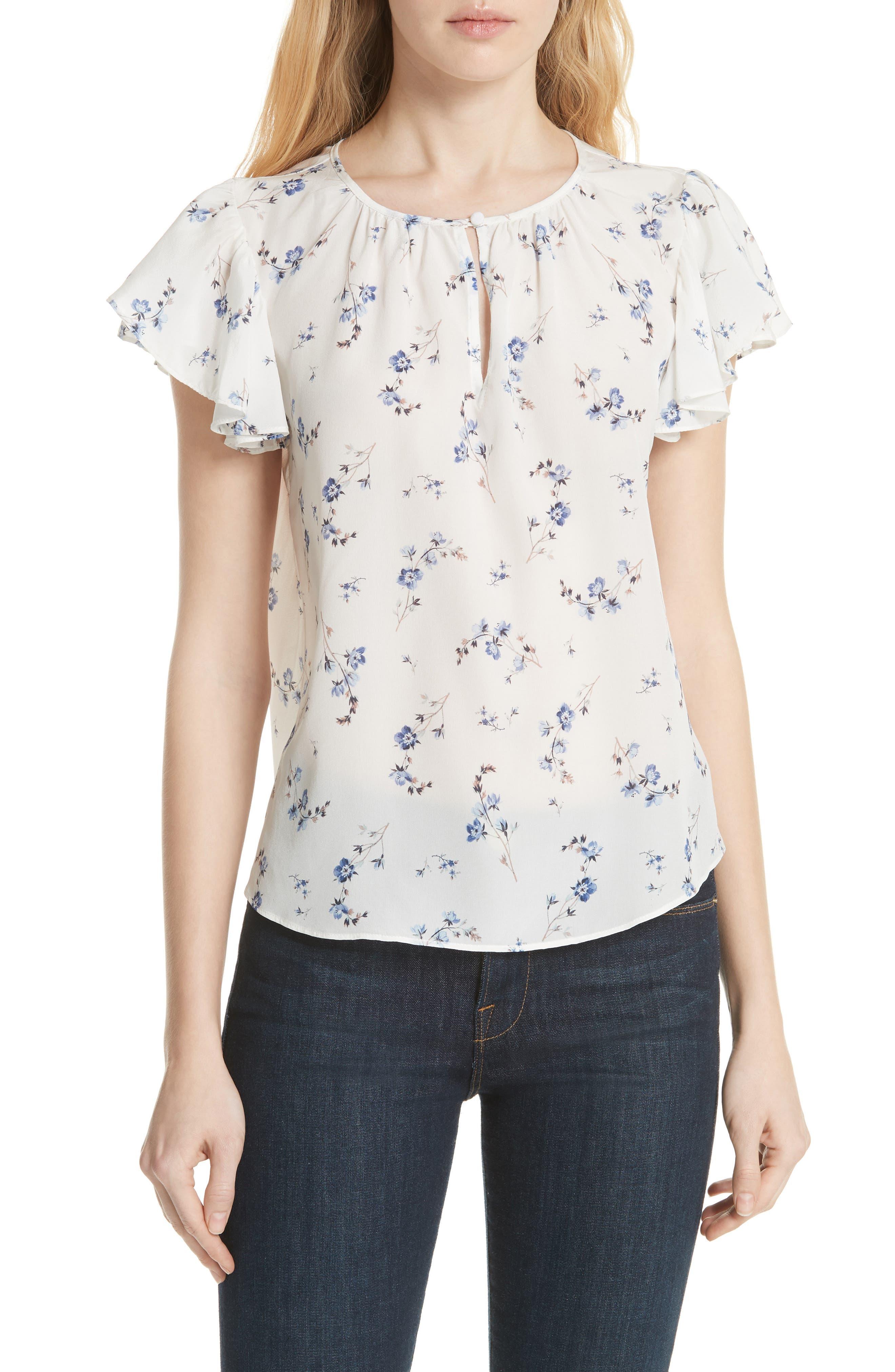 Francine Floral Silk Top,                         Main,                         color, 103