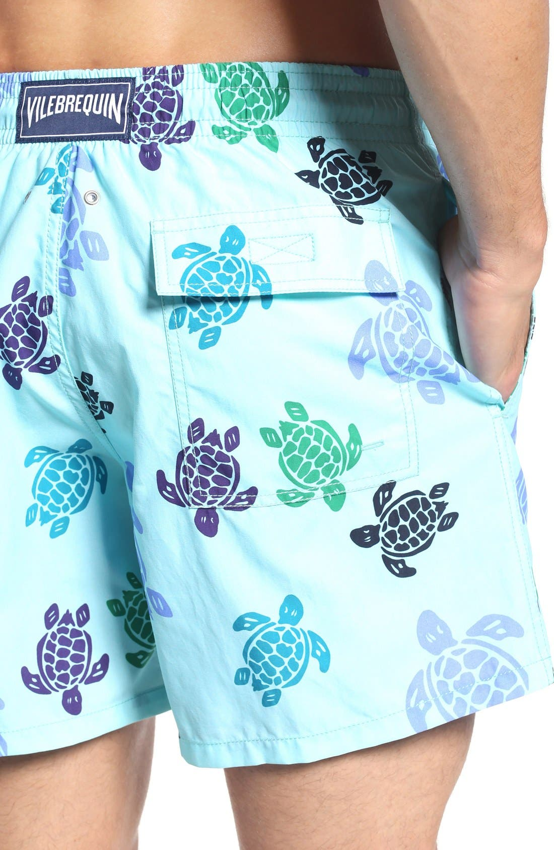 Turtle Dance Print Swim Trunks,                             Alternate thumbnail 4, color,                             463