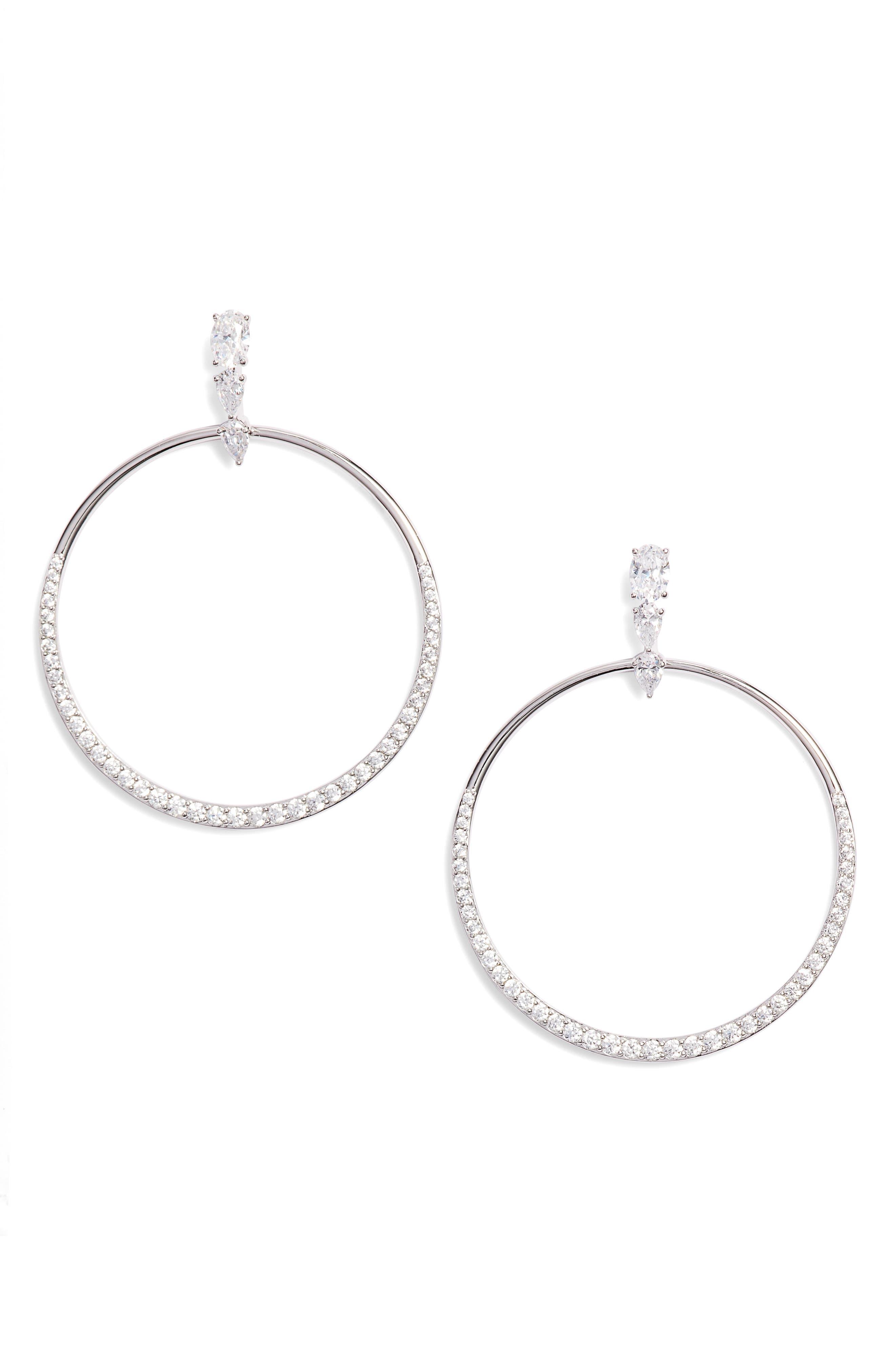 NADRI Fete Gradient Cubic Zirconia Hoop Earrings in Black