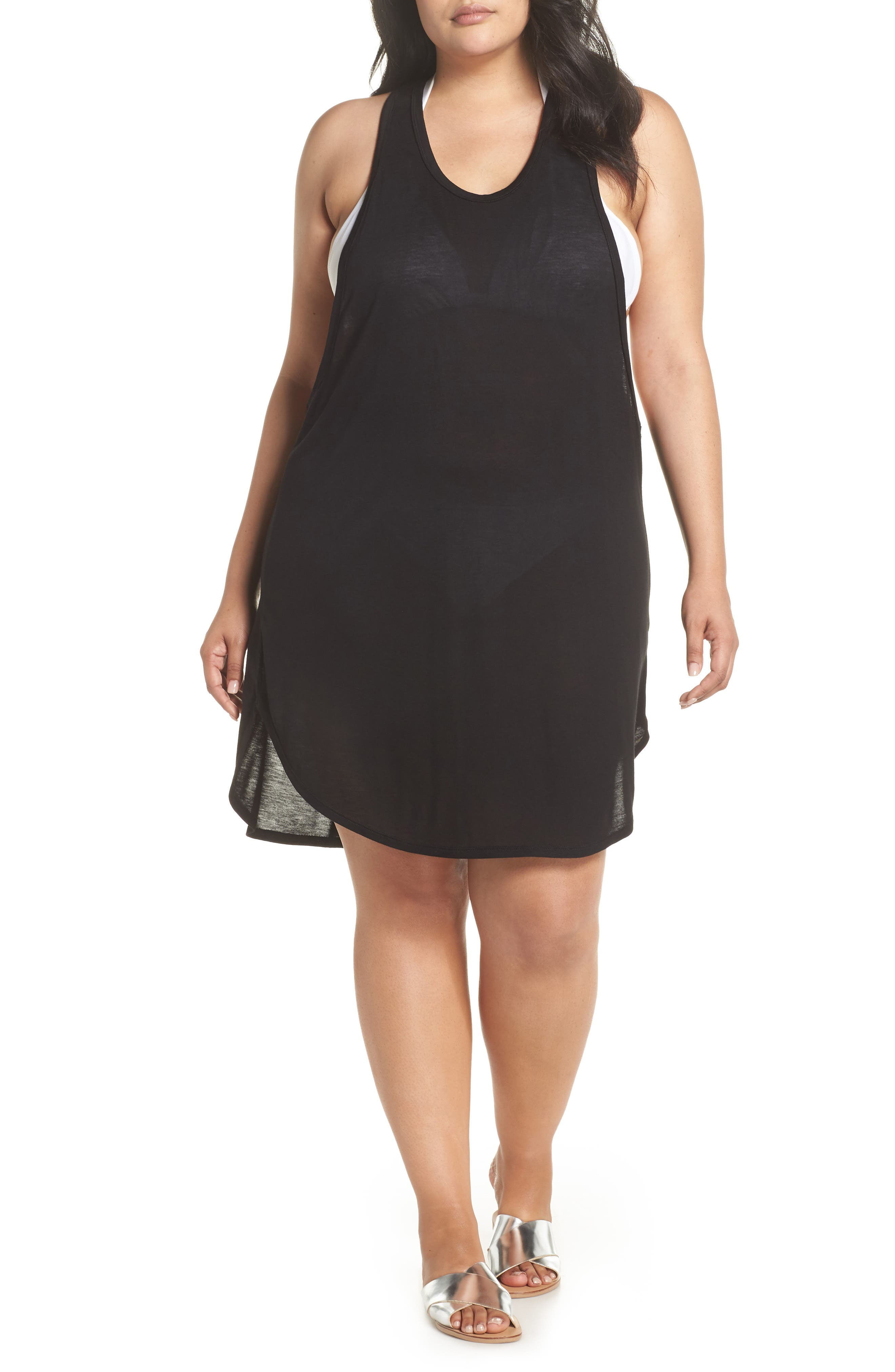 Racerback Cover-Up Tank Dress,                         Main,                         color, BLACK