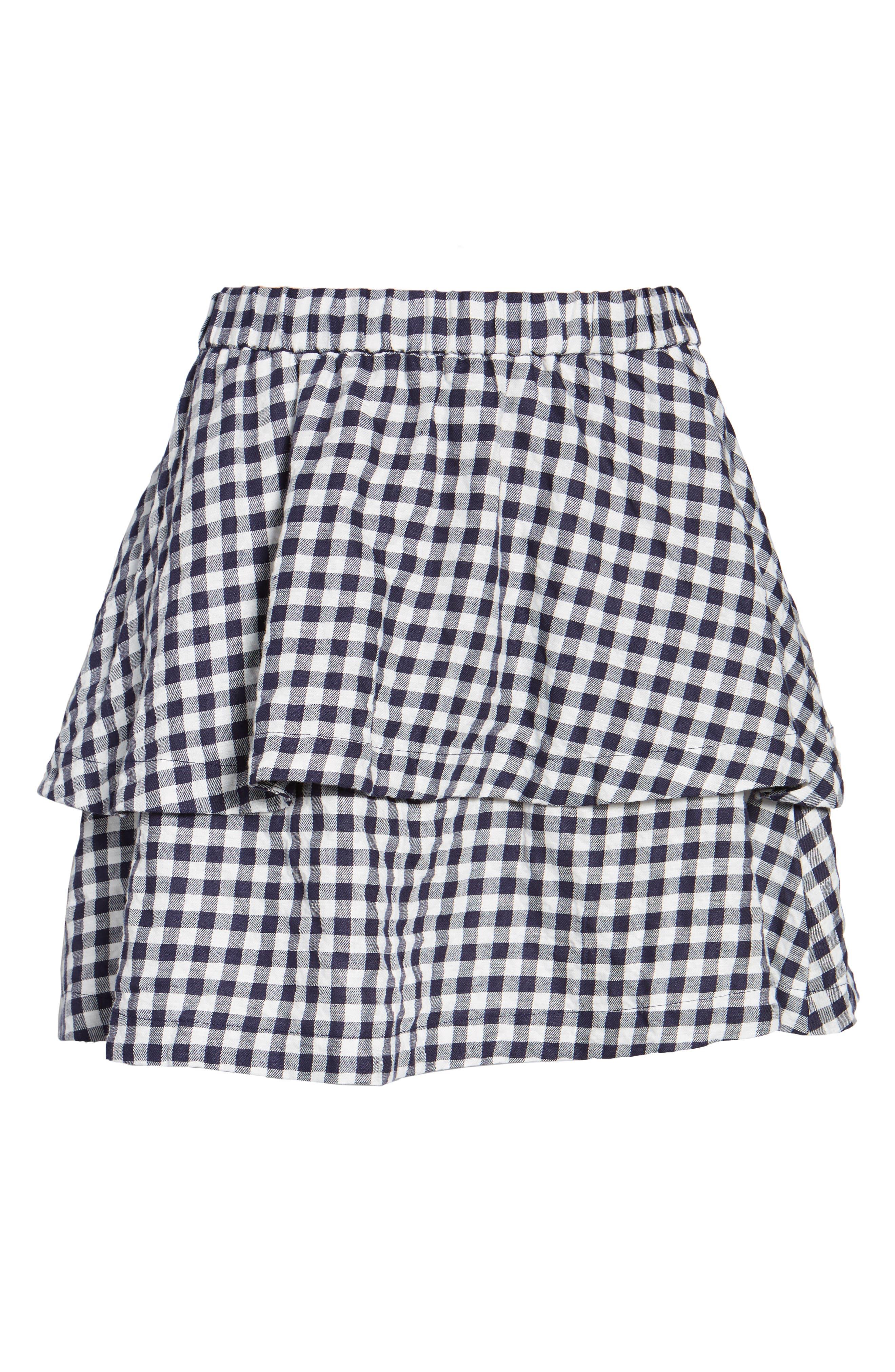 Gingham Tiered Miniskirt,                             Alternate thumbnail 6, color,                             400