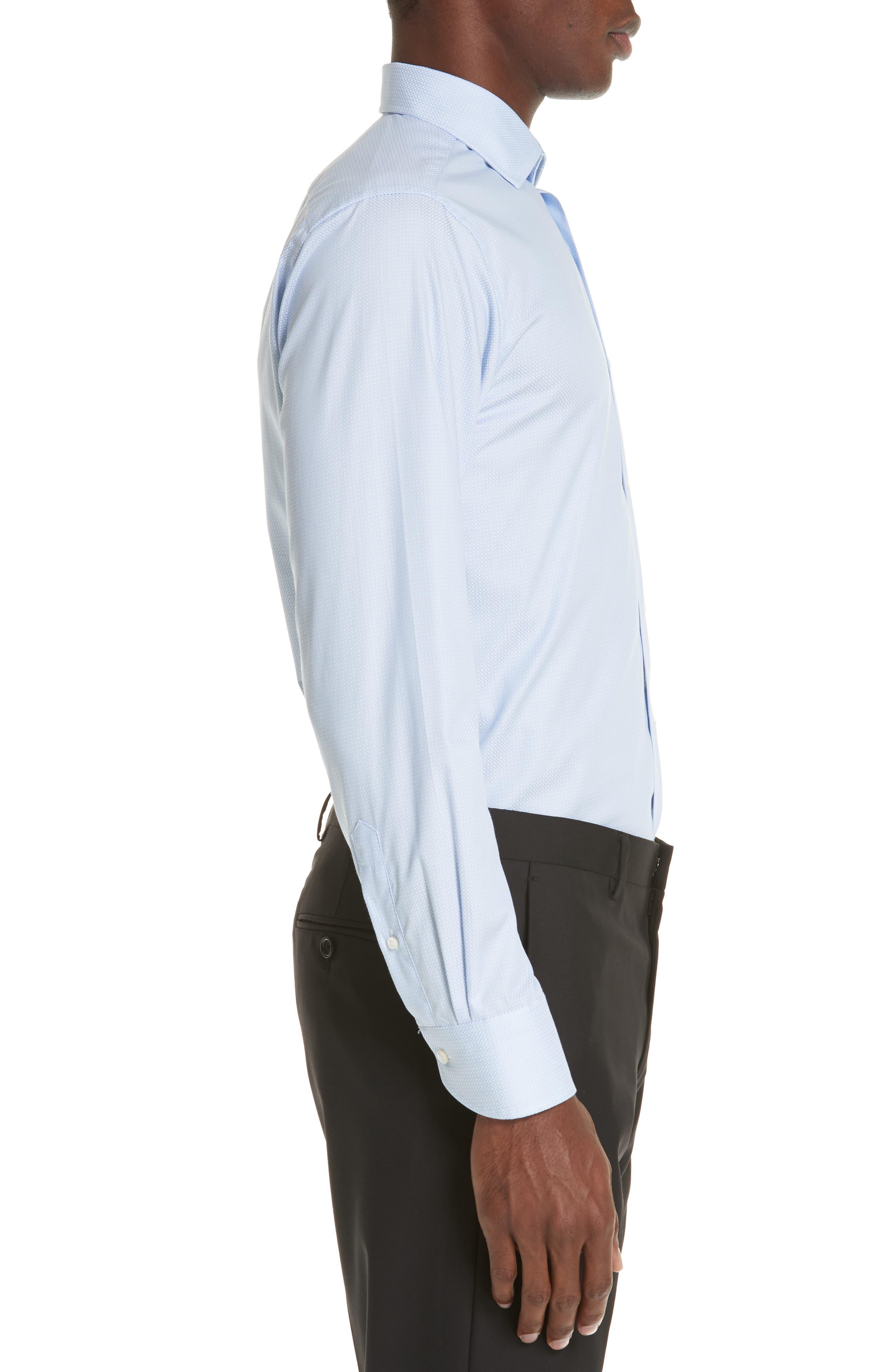 Trim Fit Geometric Dress Shirt,                             Alternate thumbnail 4, color,                             LIGHT BLUE