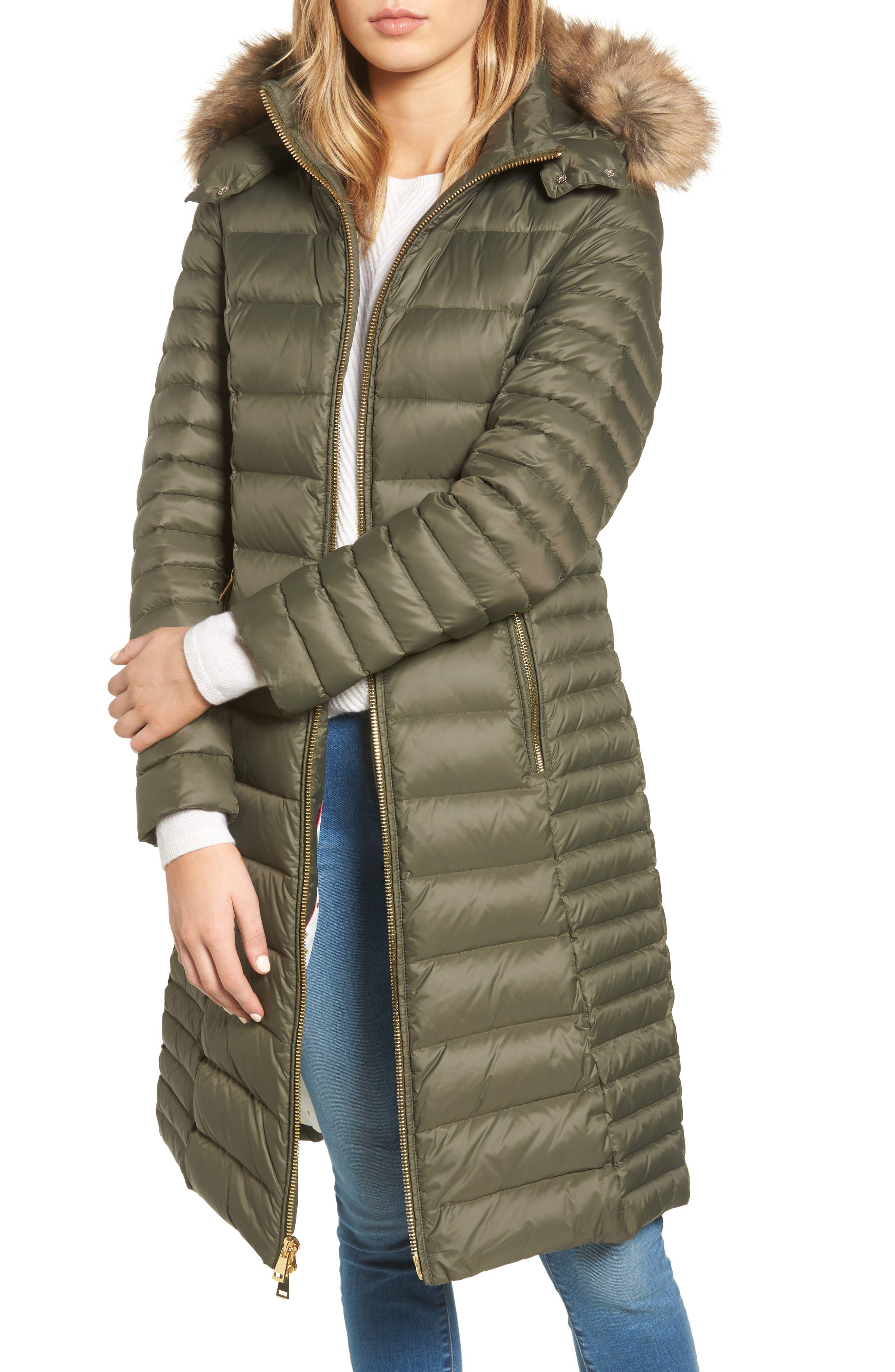 down puffer coat with faux fur trim,                             Main thumbnail 2, color,