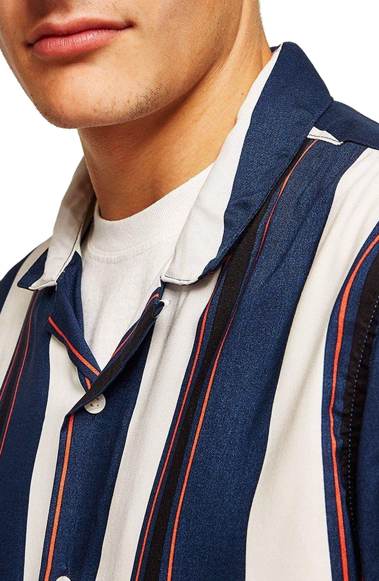 TOPMAN,                             Stripe Camp Shirt,                             Alternate thumbnail 2, color,                             410
